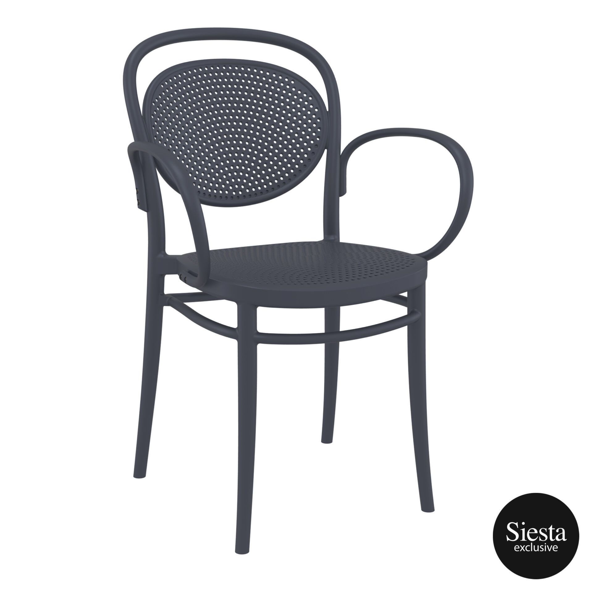restaurant plastic dining marcel xl armchair darkgrey front side 2