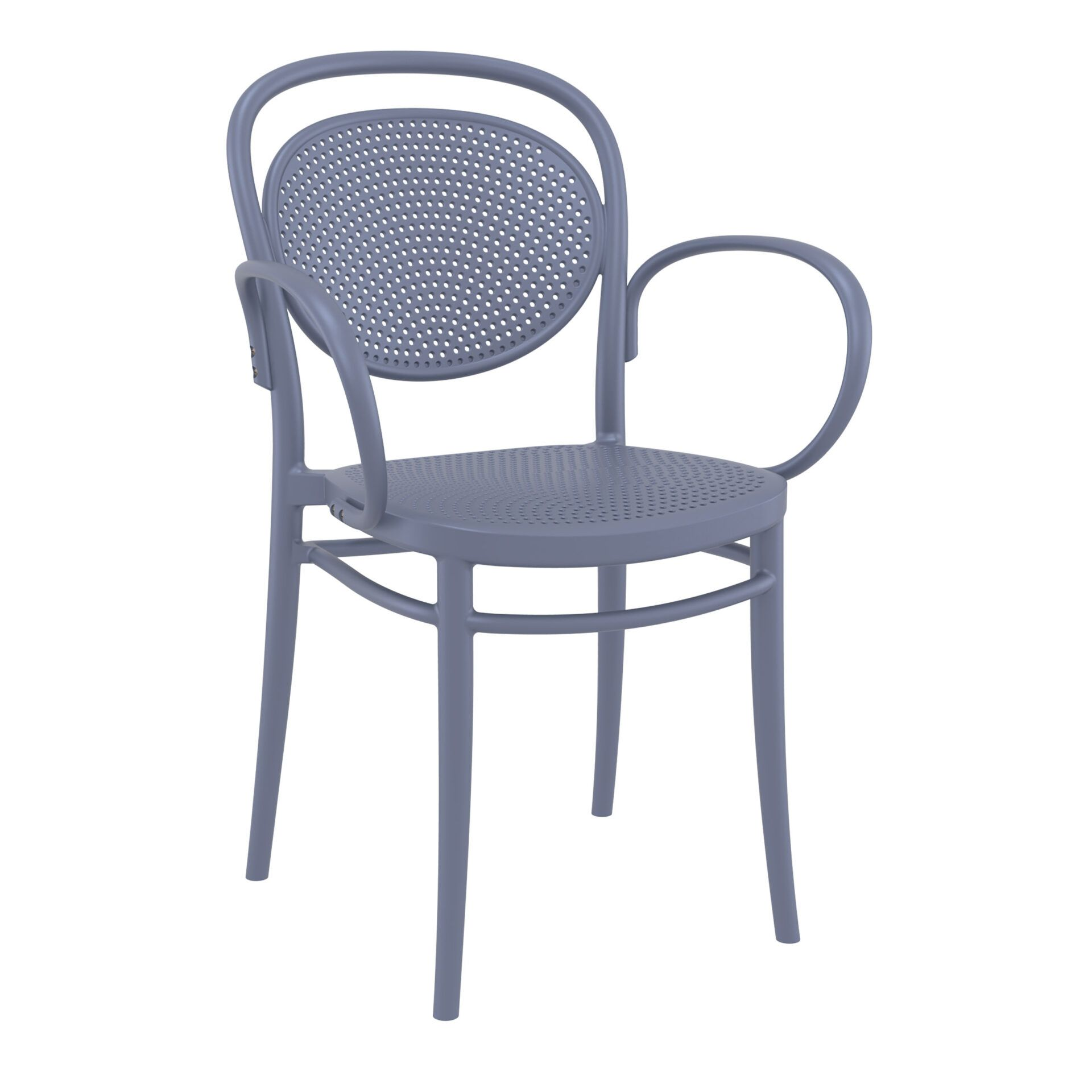 restaurant plastic dining marcel xl armchair darkgrey front side