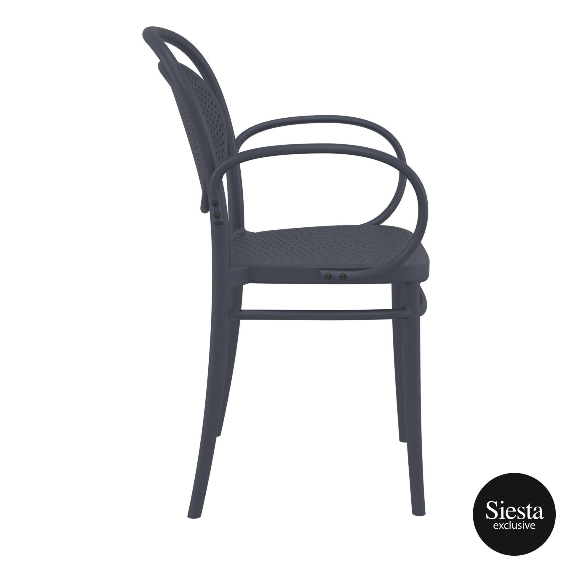 restaurant plastic dining marcel xl armchair darkgrey side 2