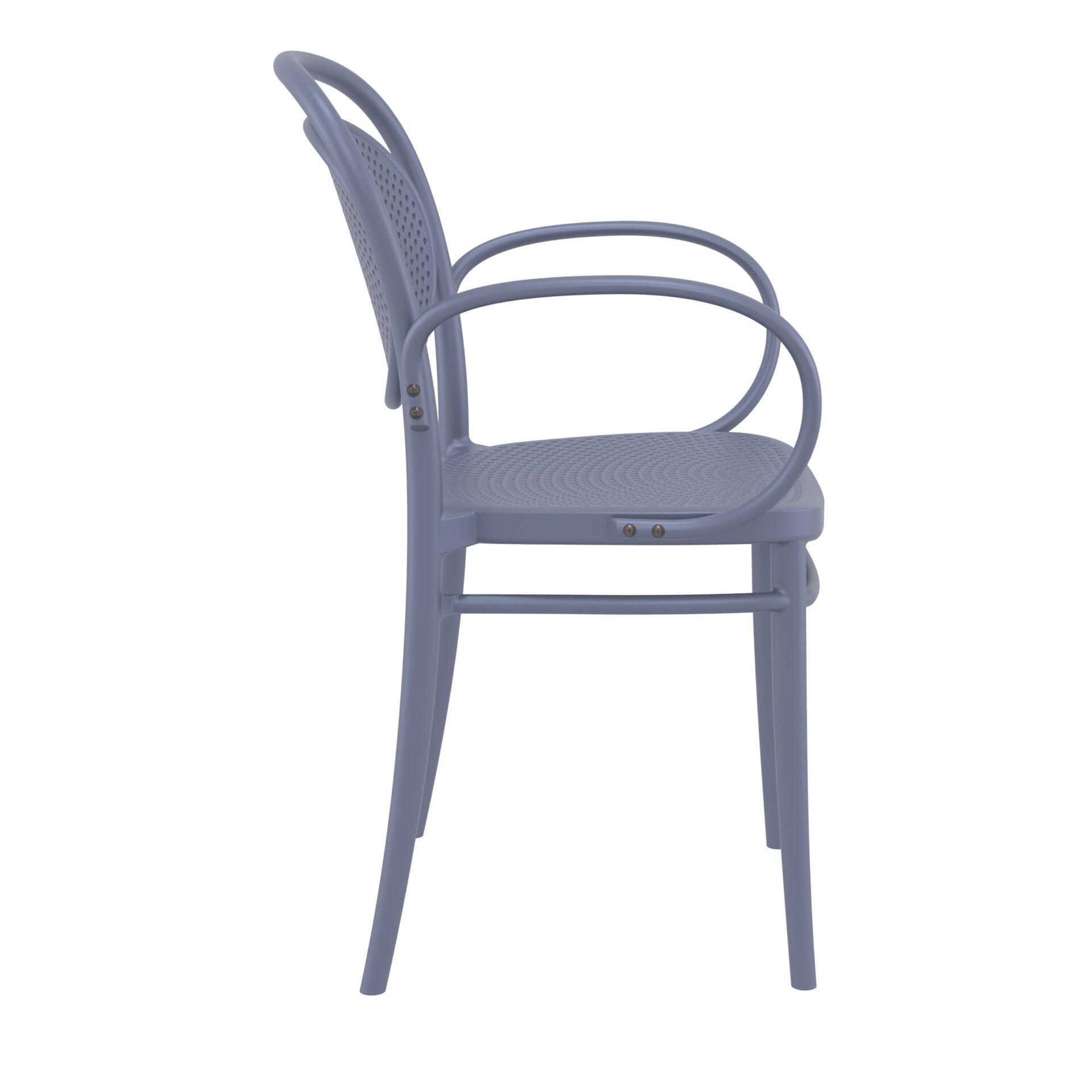 restaurant plastic dining marcel xl armchair darkgrey side