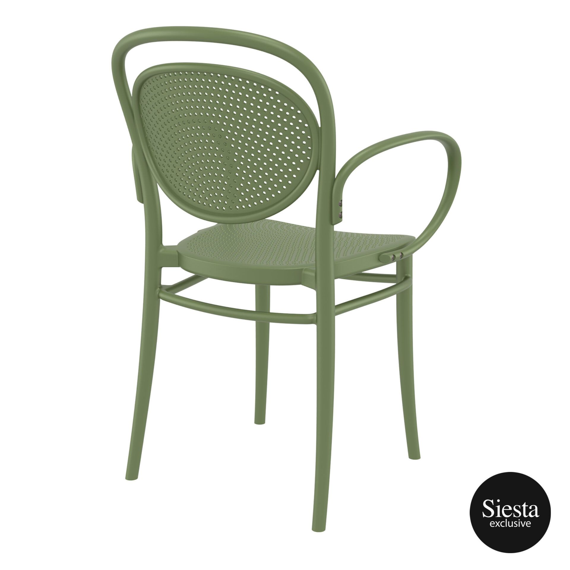 restaurant plastic dining marcel xl armchair olive green back side 1