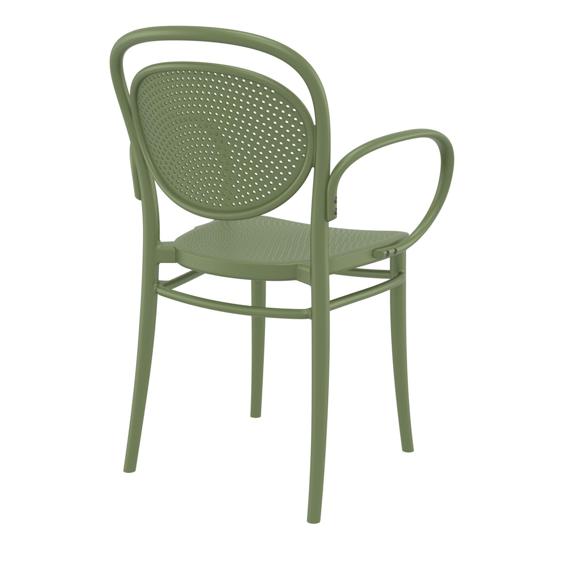 restaurant plastic dining marcel xl armchair olive green back side