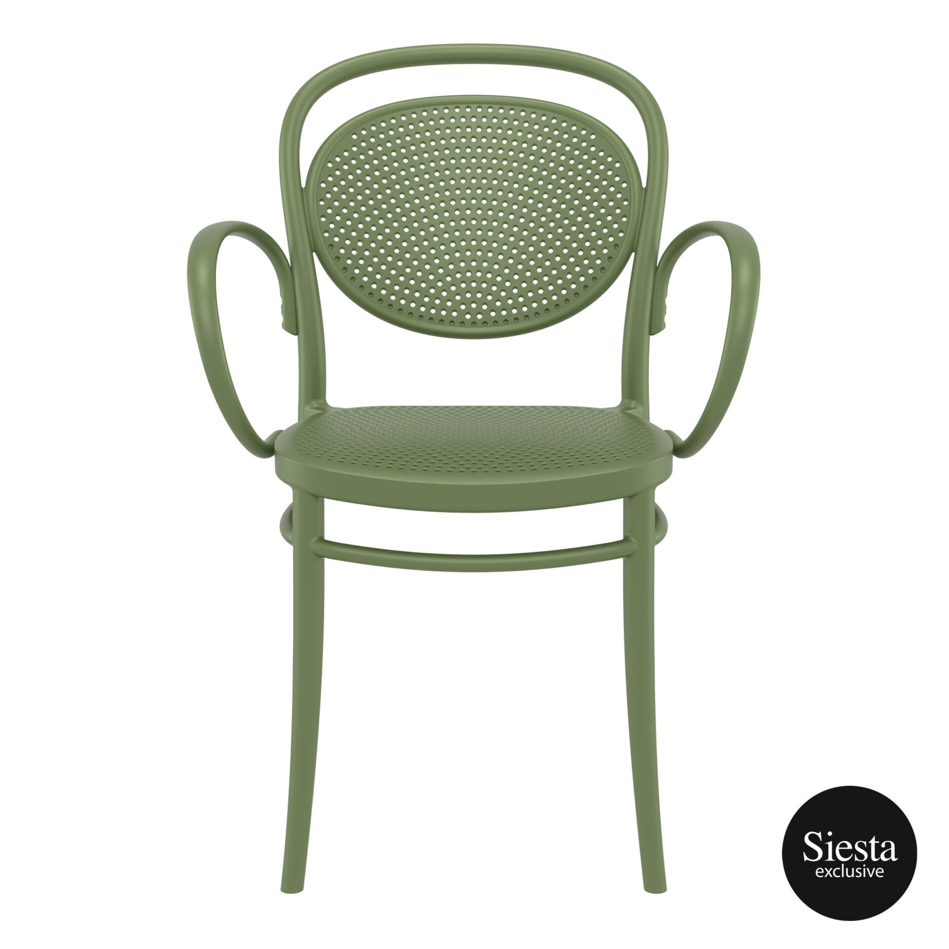 restaurant plastic dining marcel xl armchair olive green front 1