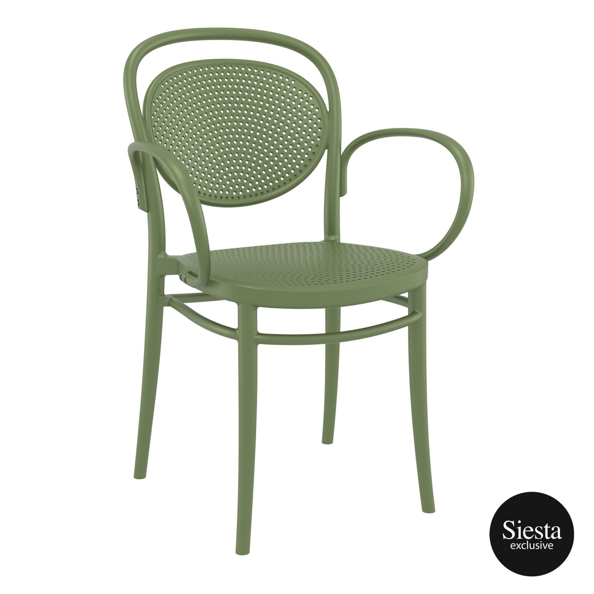 restaurant plastic dining marcel xl armchair olive green front side 1