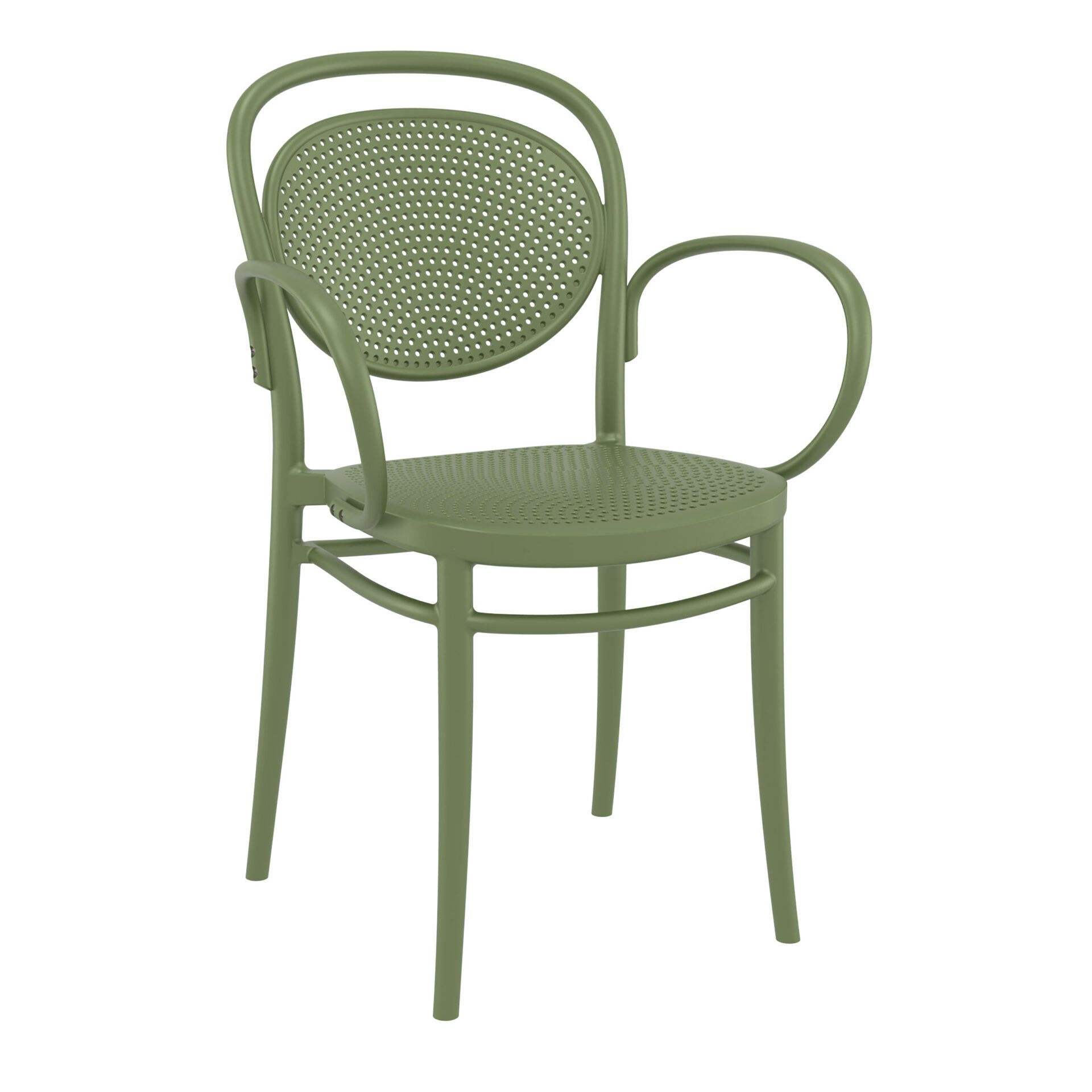 restaurant plastic dining marcel xl armchair olive green front side