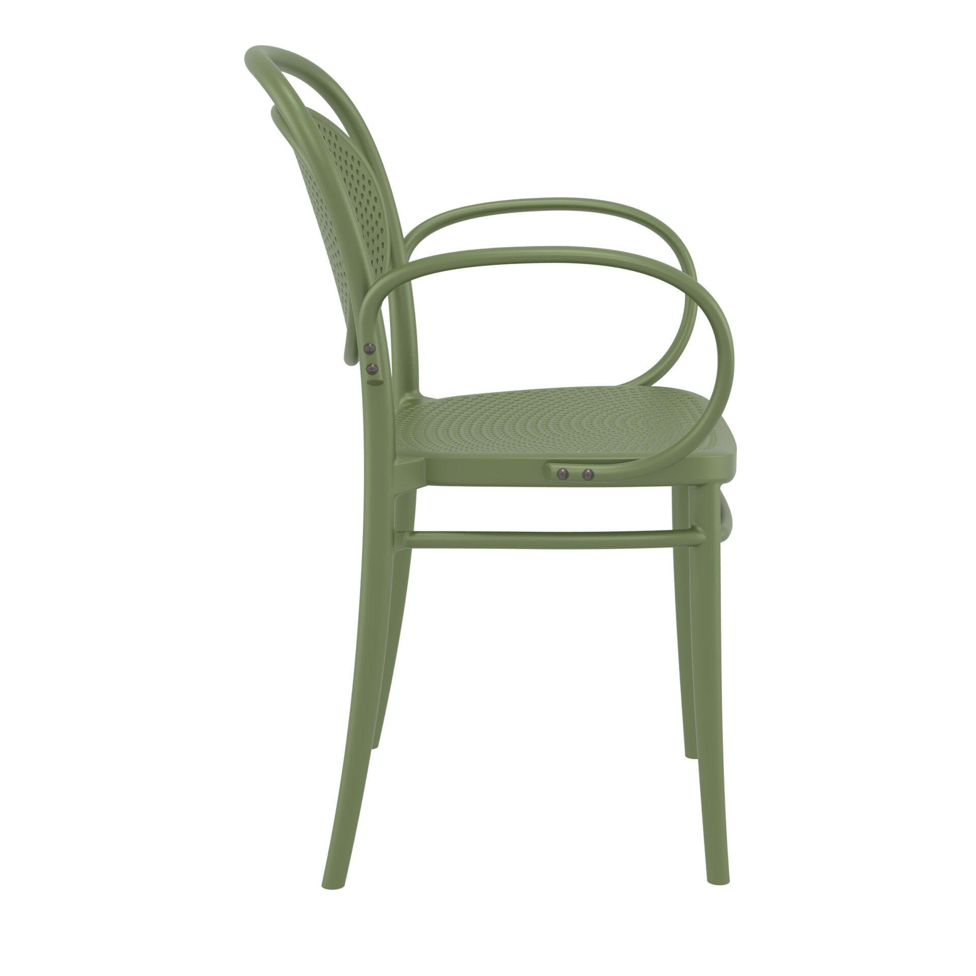 restaurant plastic dining marcel xl armchair olive green side