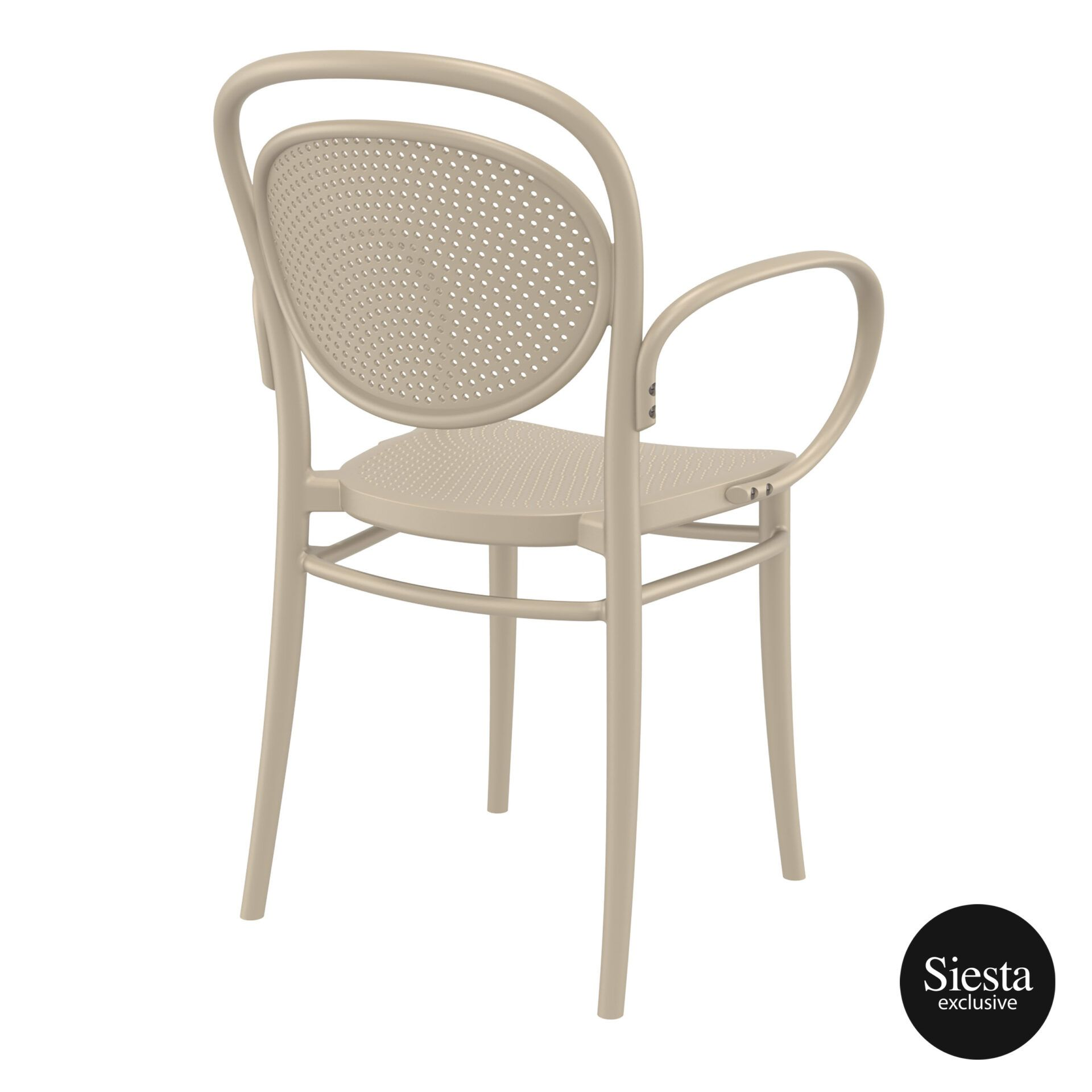 restaurant plastic dining marcel xl armchair taupe back side 1