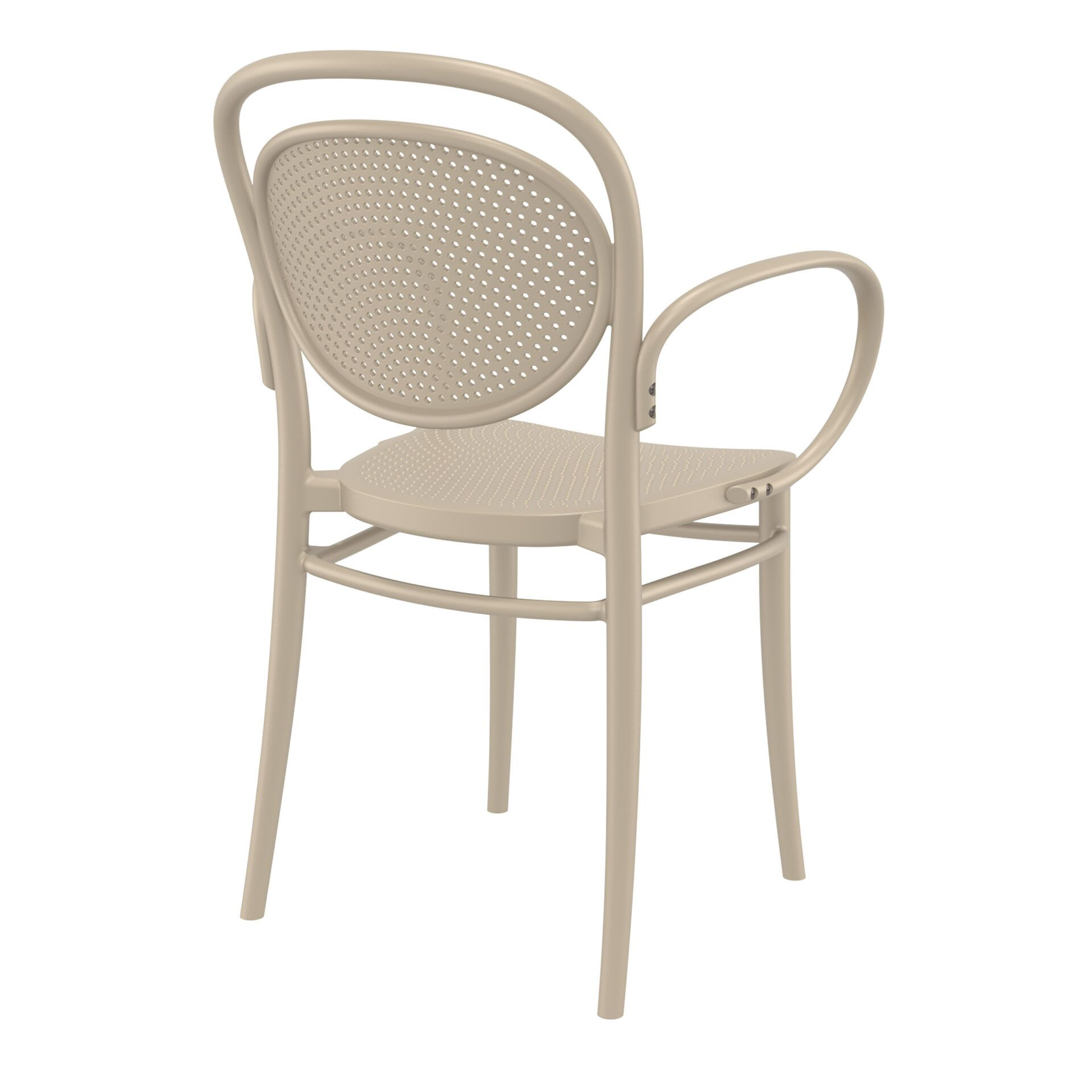 restaurant plastic dining marcel xl armchair taupe back side