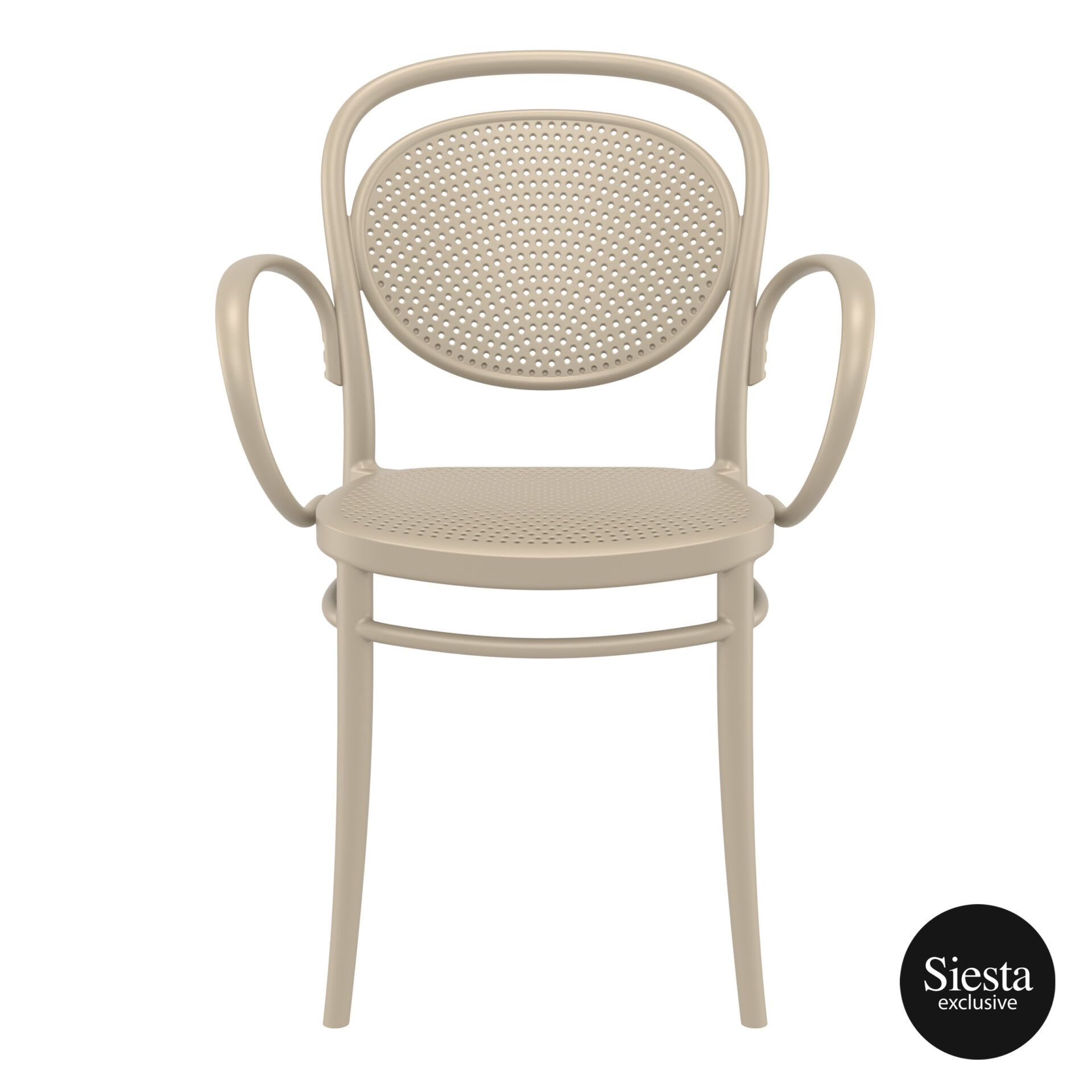 restaurant plastic dining marcel xl armchair taupe front 1