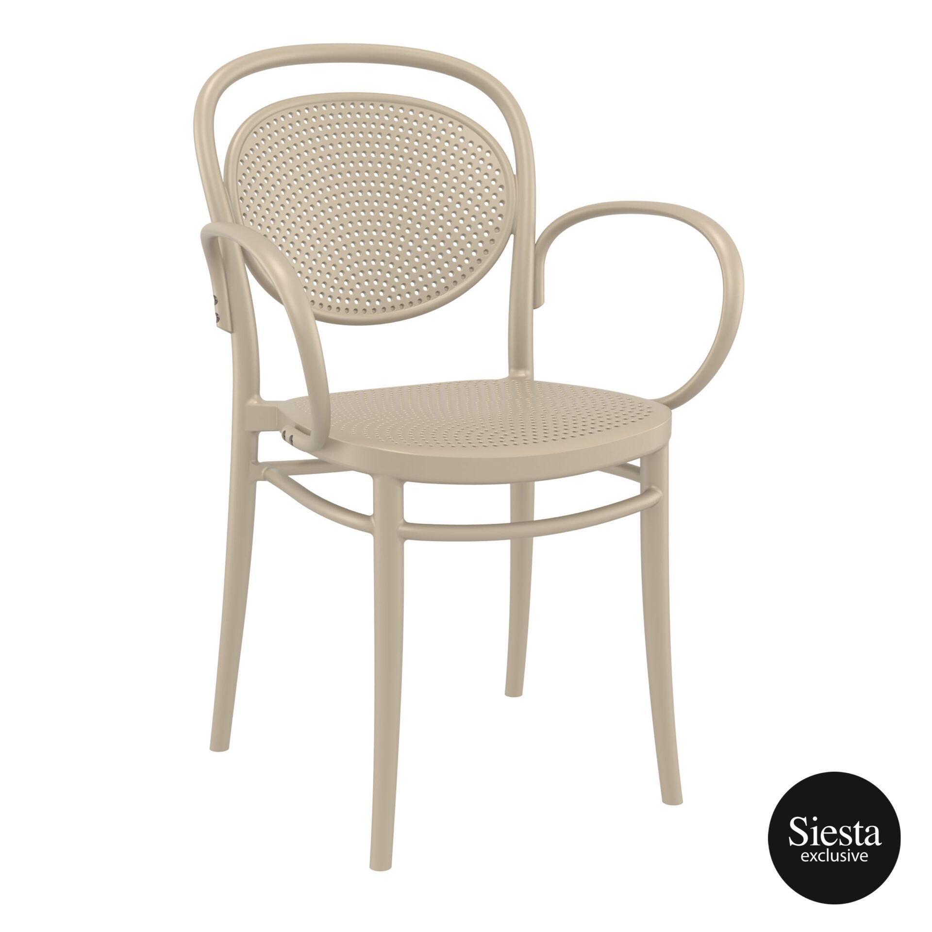 restaurant plastic dining marcel xl armchair taupe front side 1