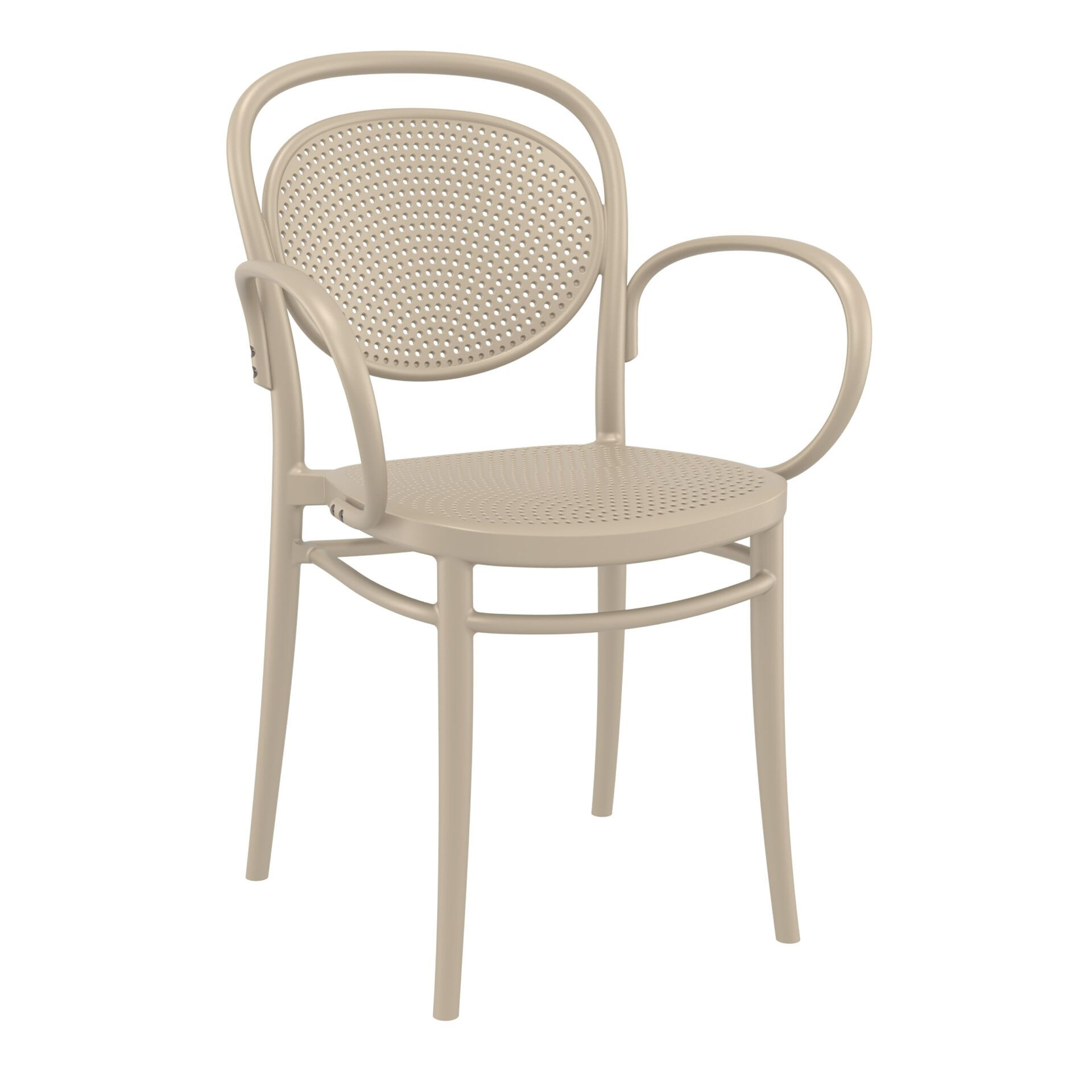 restaurant plastic dining marcel xl armchair taupe front side
