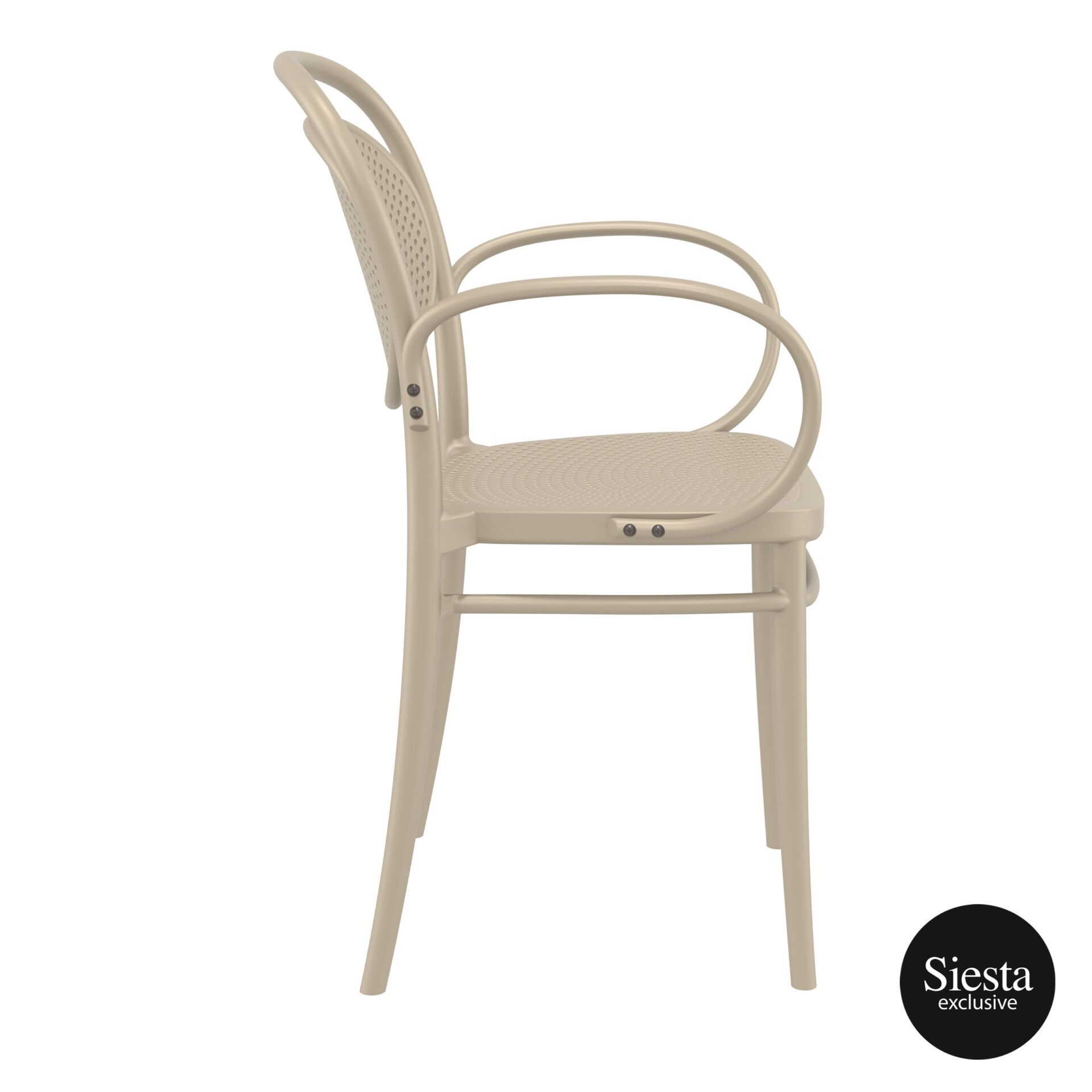 restaurant plastic dining marcel xl armchair taupe side 1