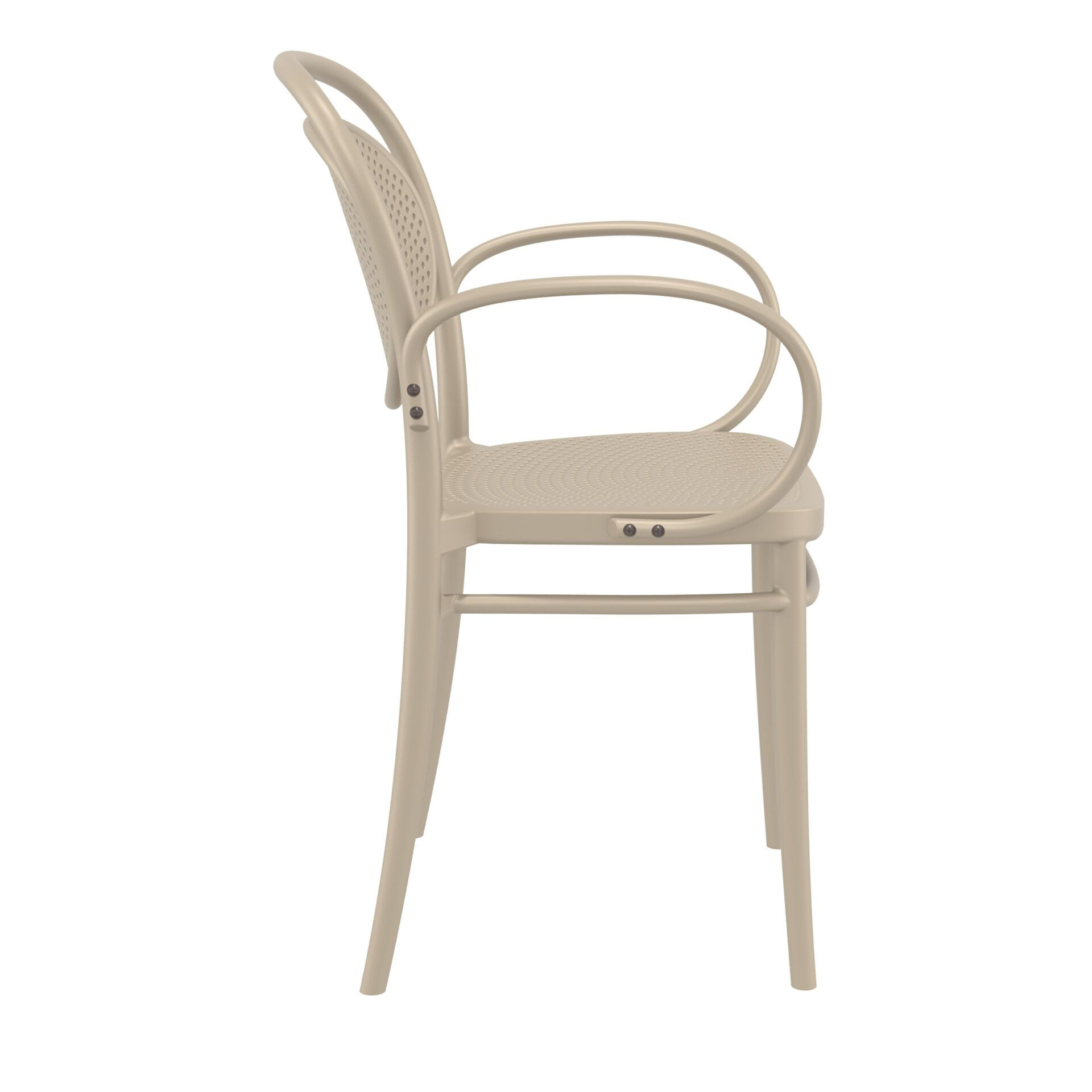 restaurant plastic dining marcel xl armchair taupe side
