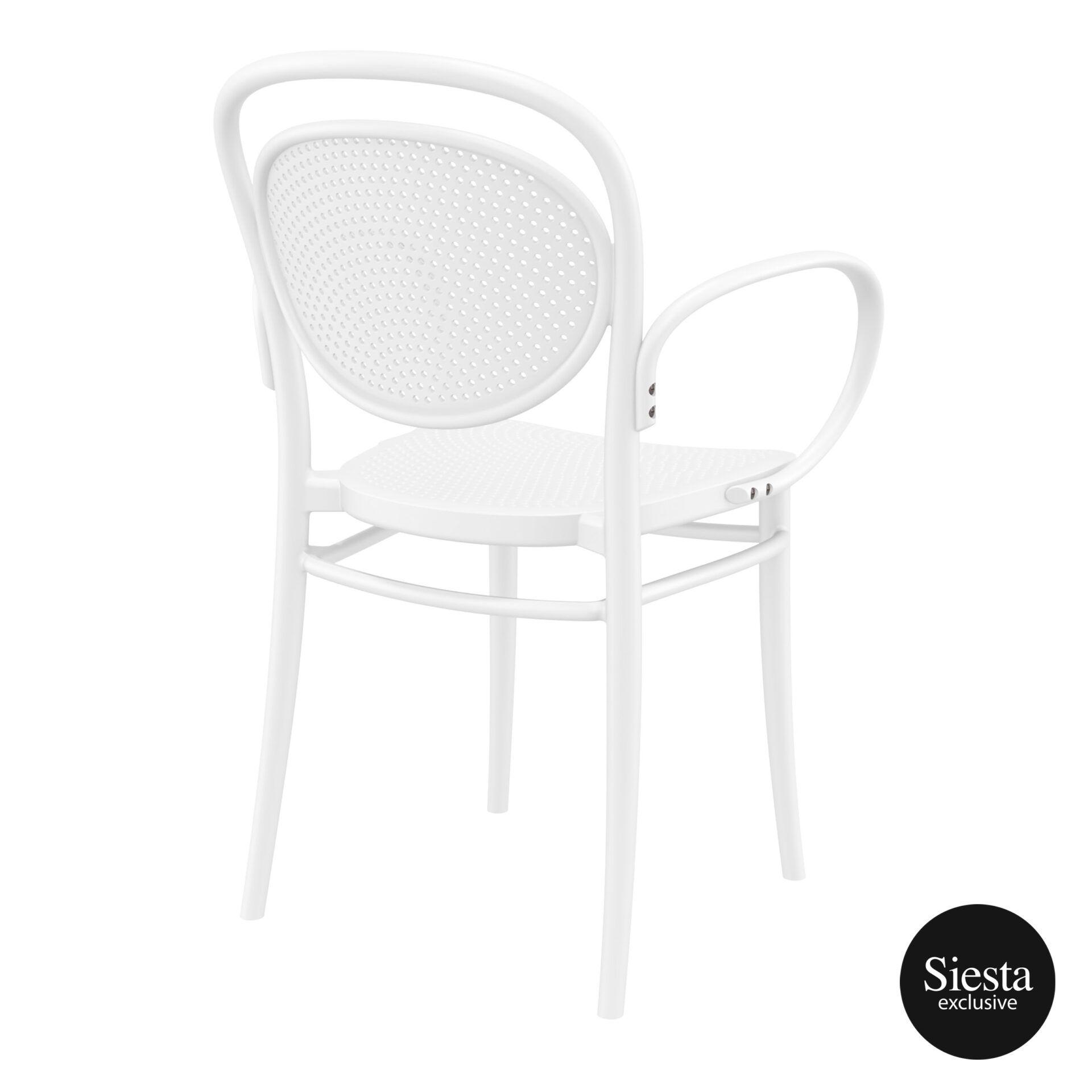 restaurant plastic dining marcel xl armchair white back side 1