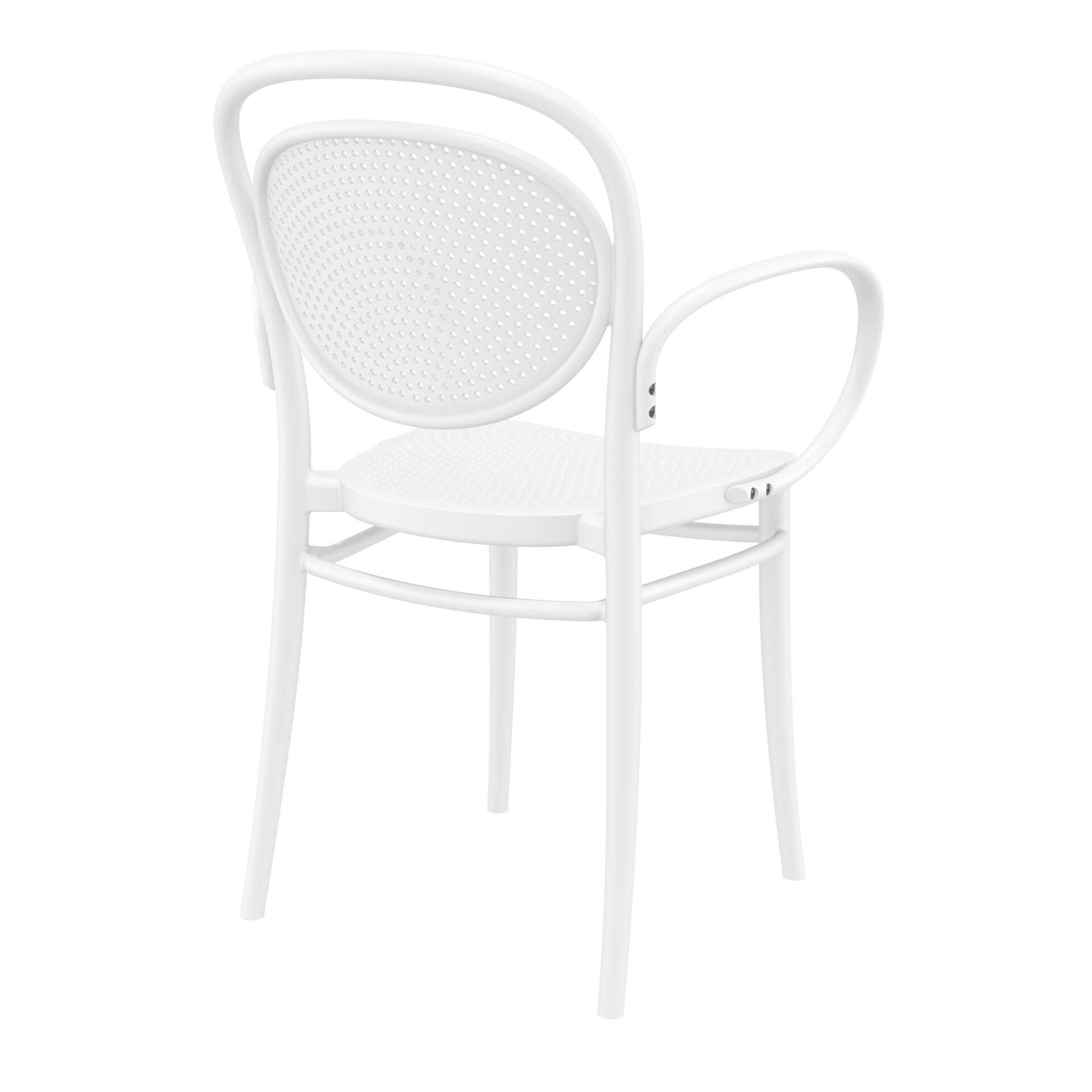 restaurant plastic dining marcel xl armchair white back side