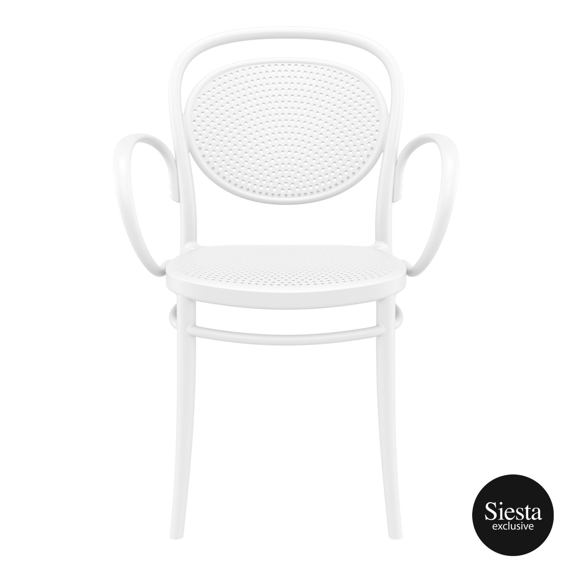 restaurant plastic dining marcel xl armchair white front 1