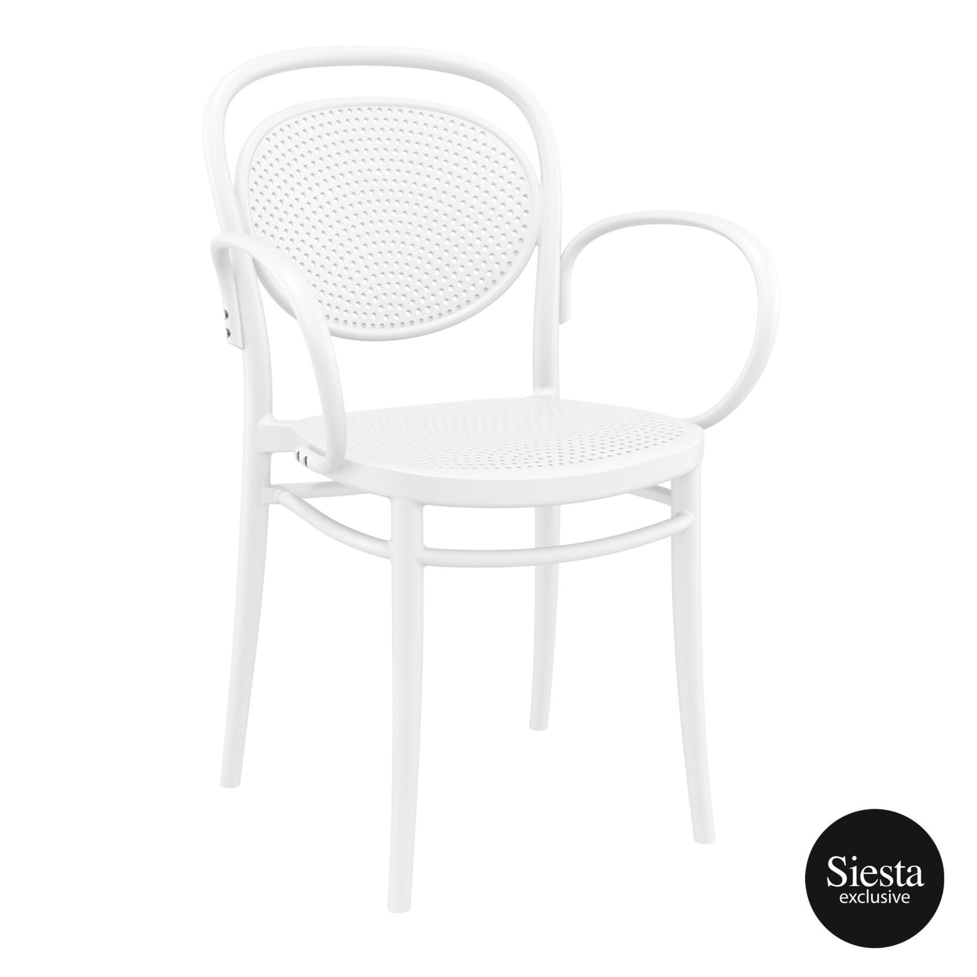 restaurant plastic dining marcel xl armchair white front side 1