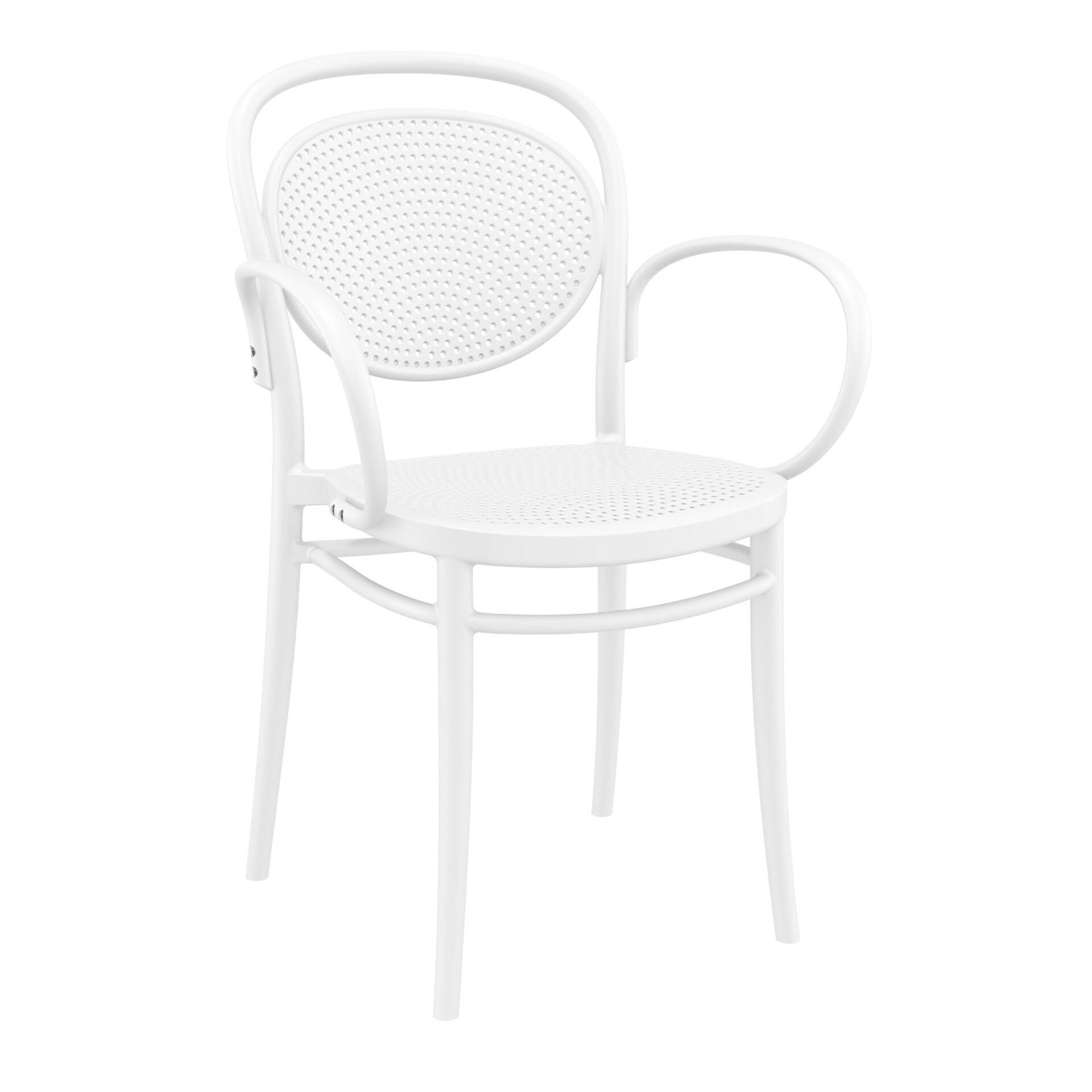 restaurant plastic dining marcel xl armchair white front side