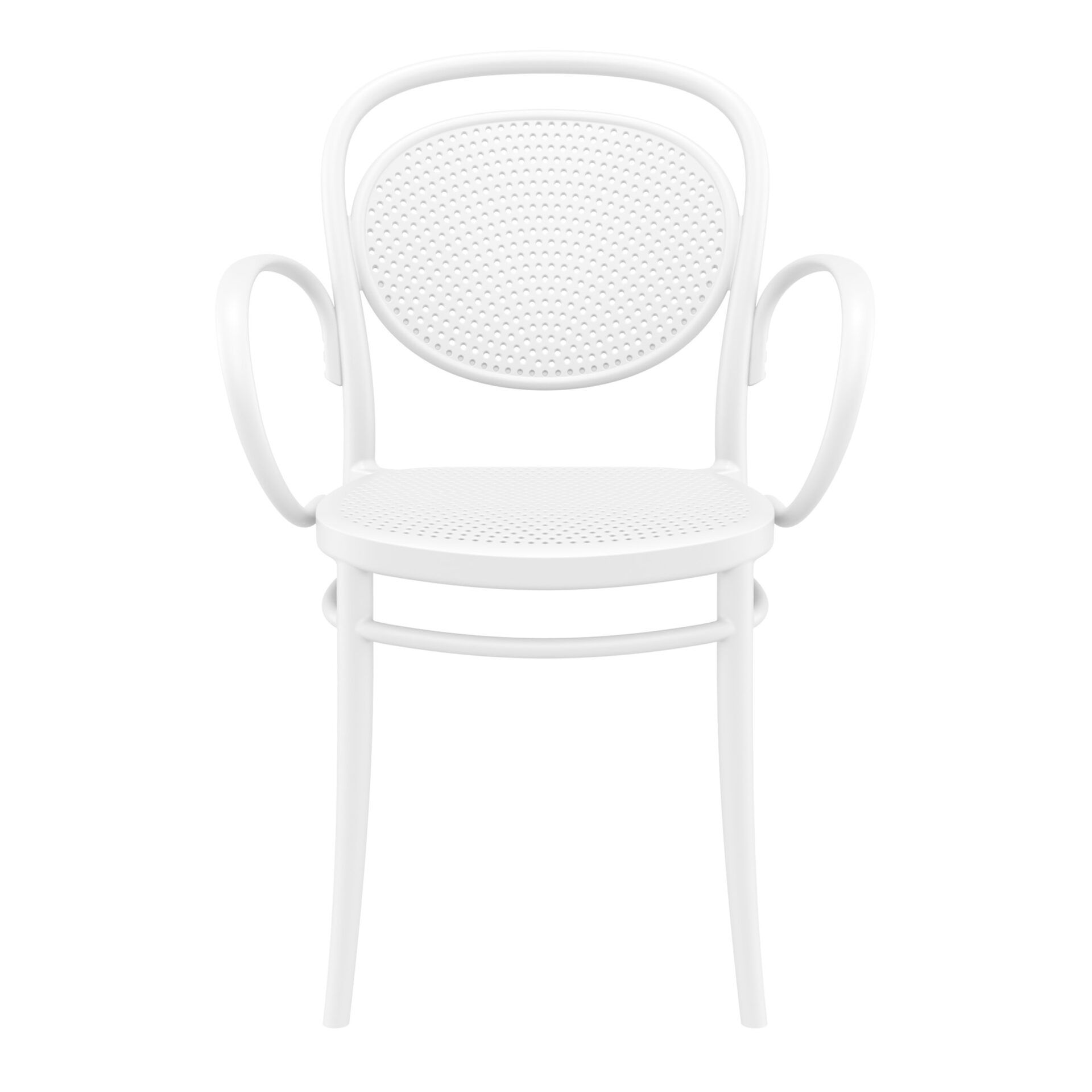 restaurant plastic dining marcel xl armchair white front