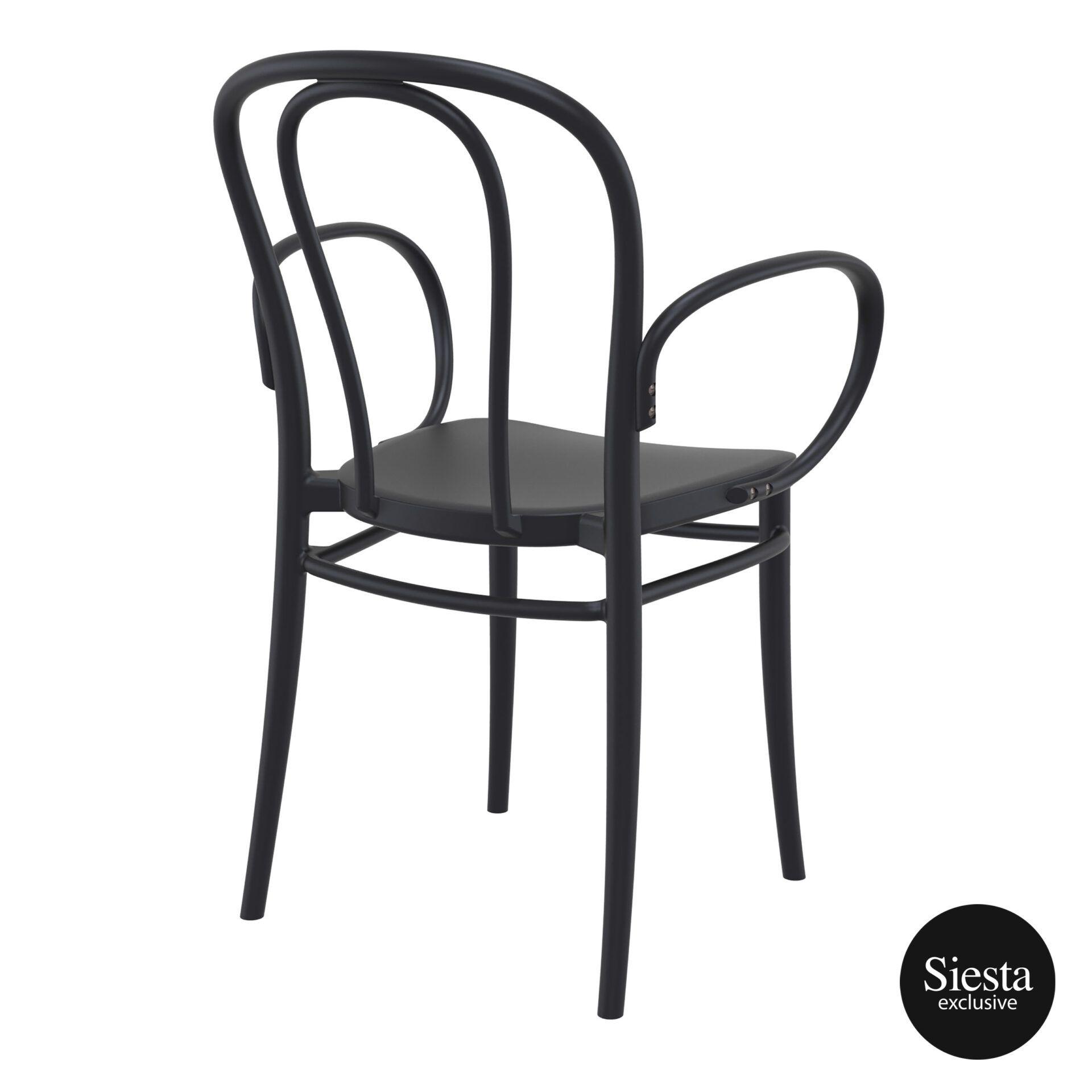 restaurant seating polypropylene victor armchair black back side 1