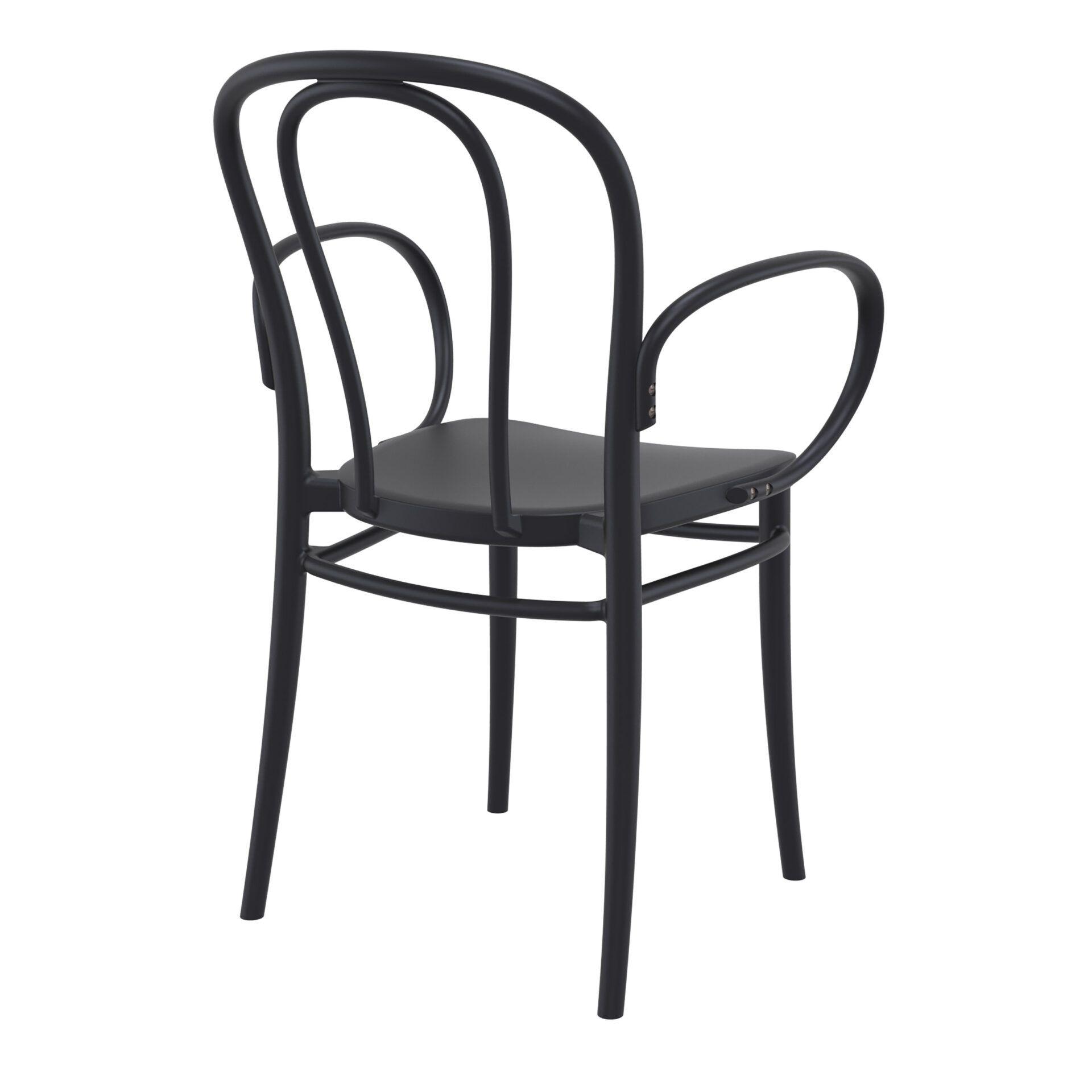 restaurant seating polypropylene victor armchair black back side