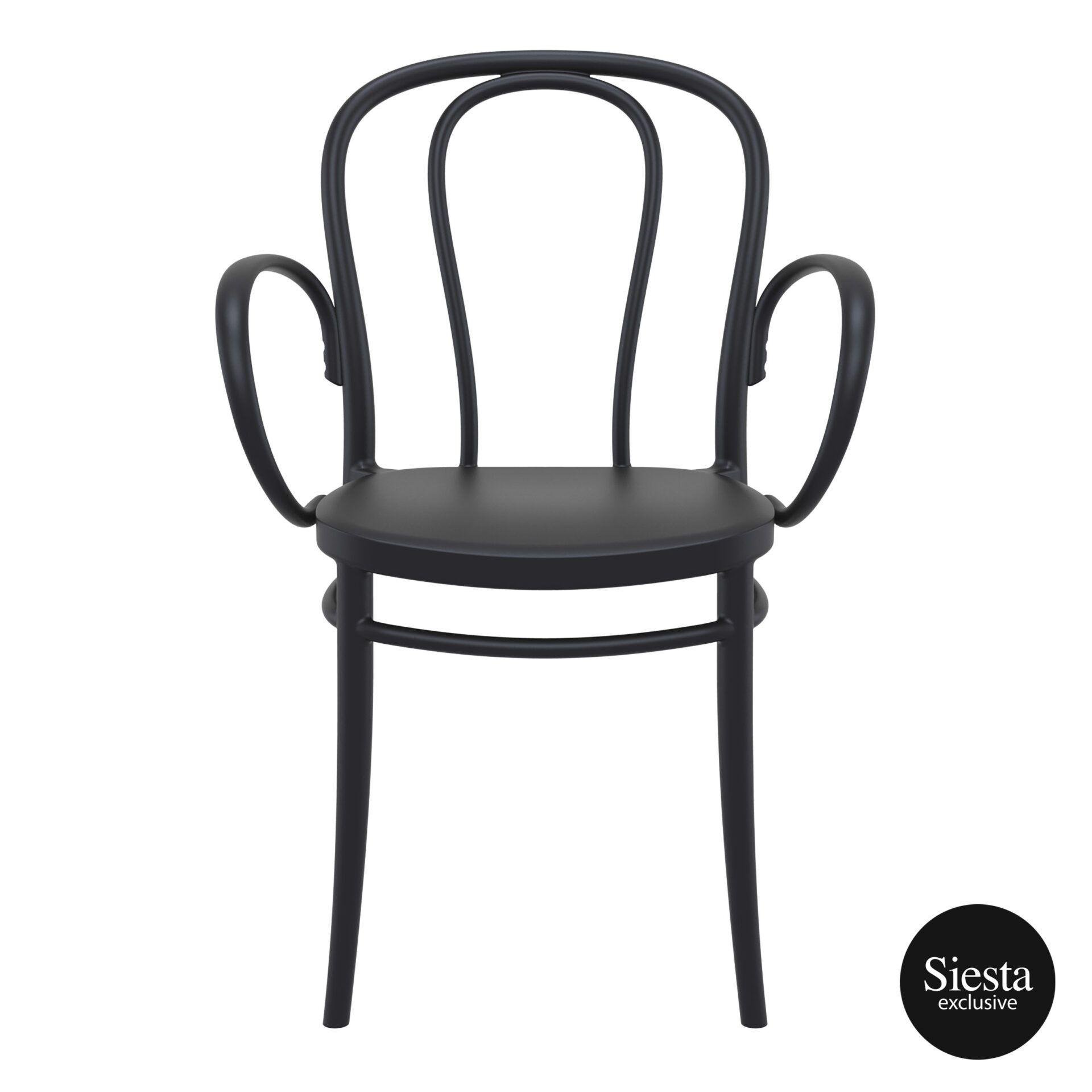 restaurant seating polypropylene victor armchair black front 1