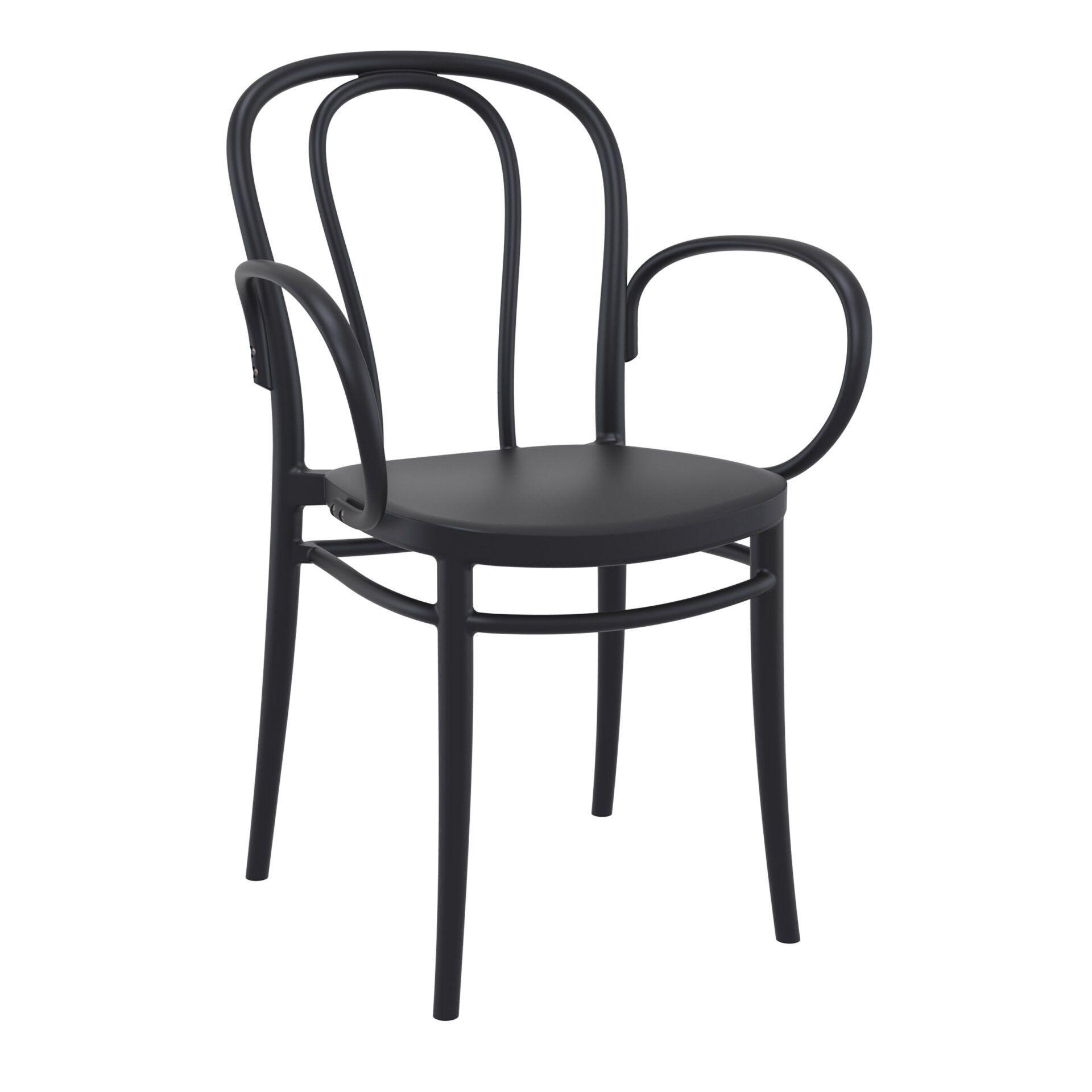 restaurant seating polypropylene victor armchair black front side