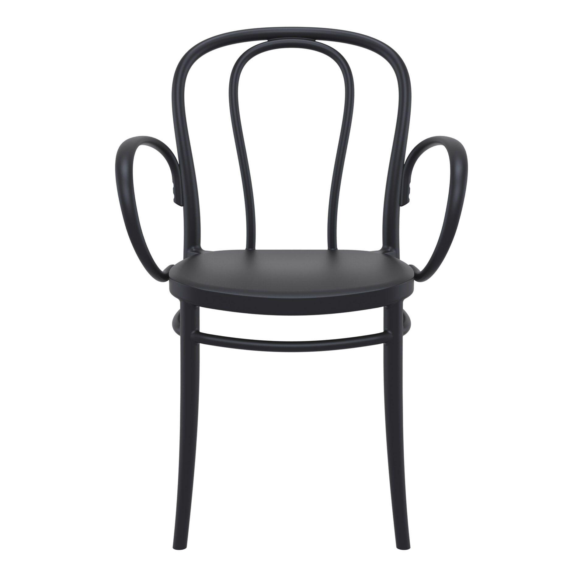 restaurant seating polypropylene victor armchair black front