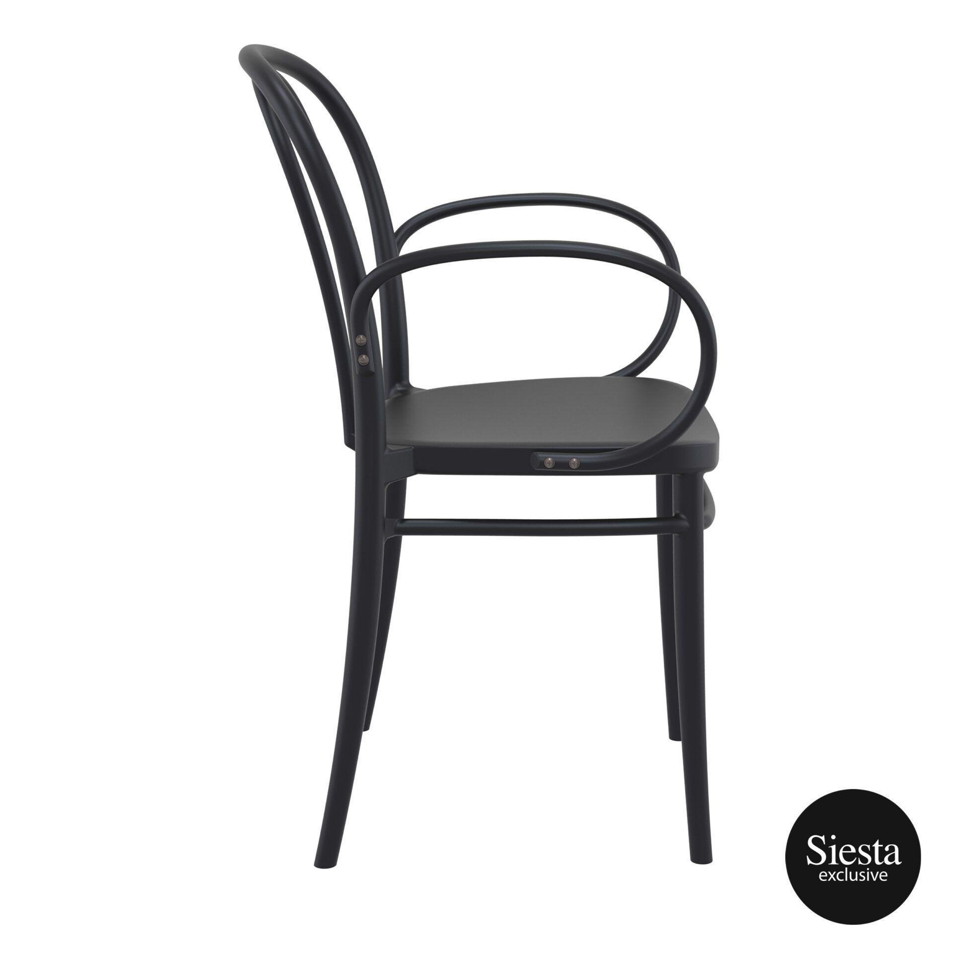 restaurant seating polypropylene victor armchair black side 1