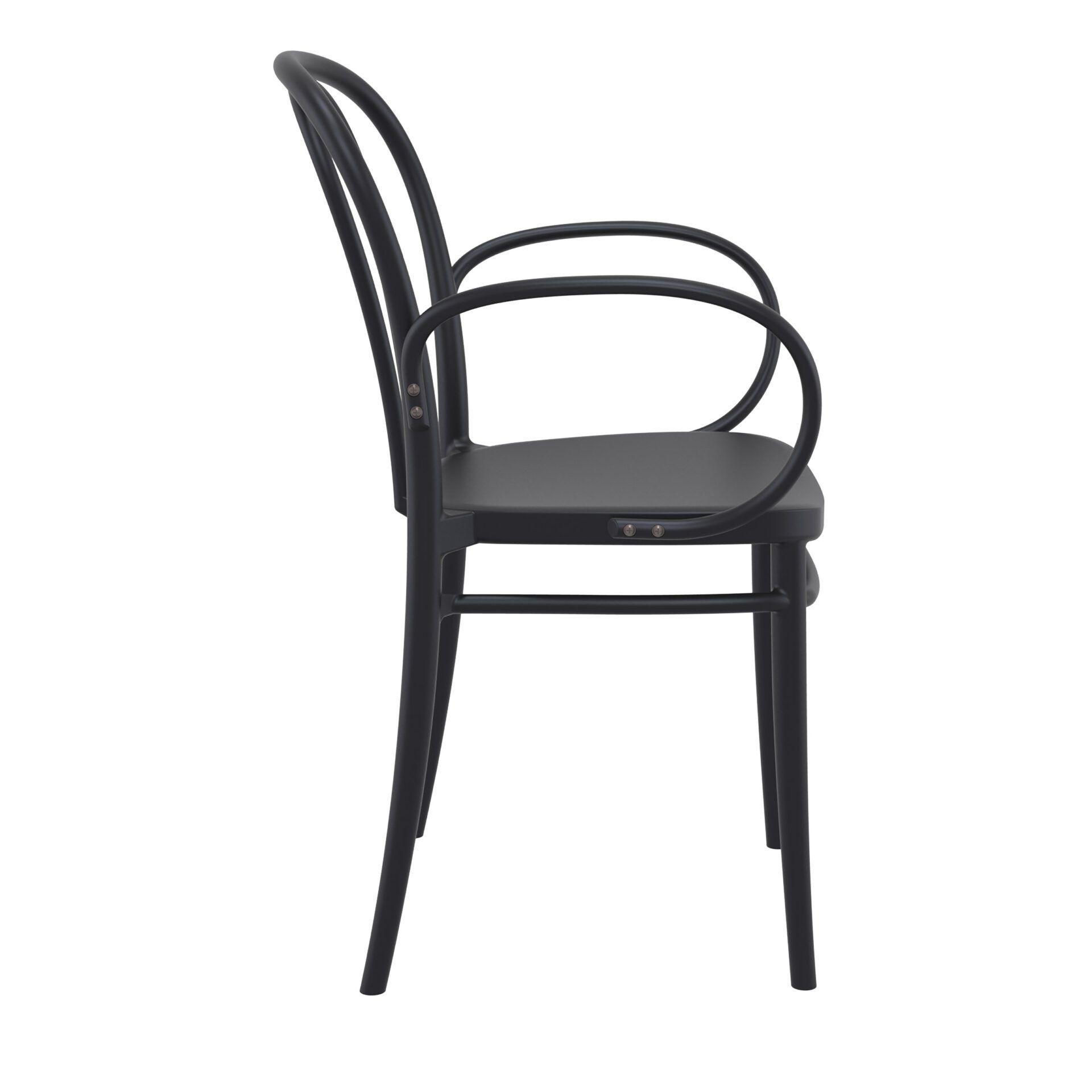 restaurant seating polypropylene victor armchair black side