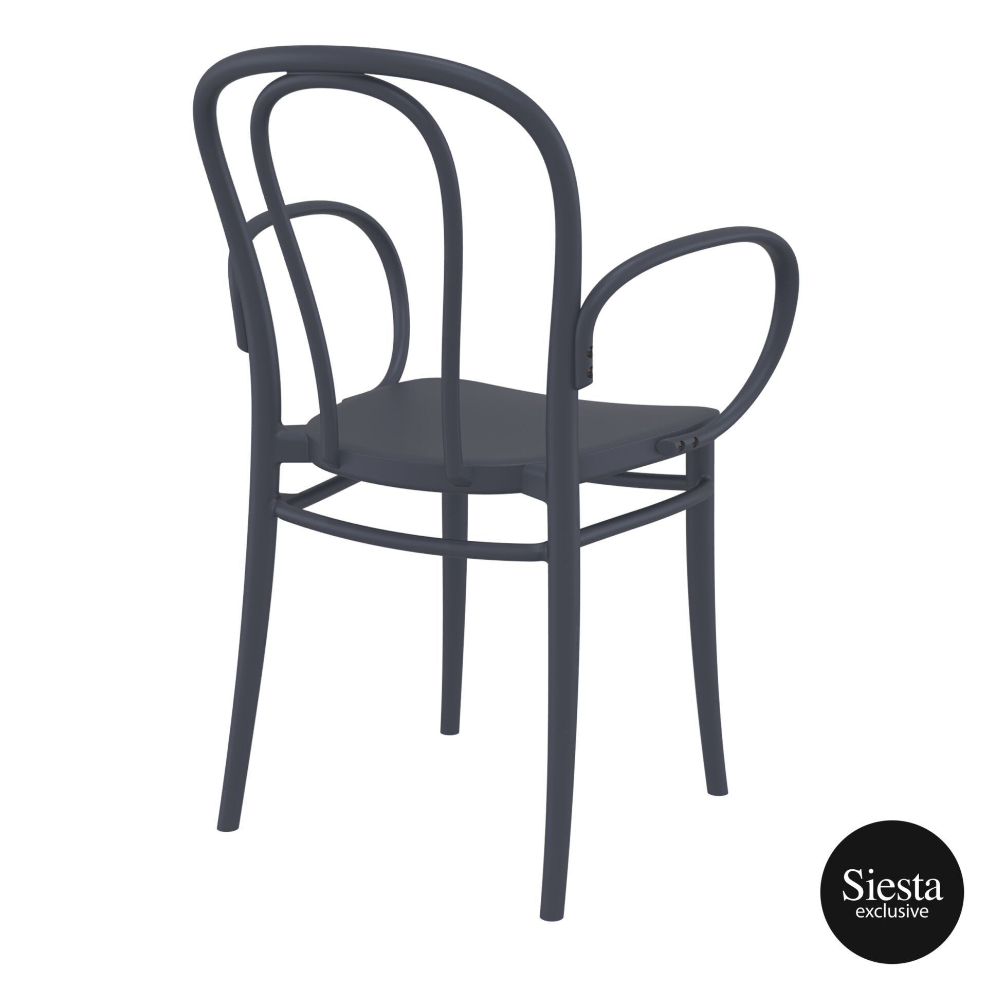 restaurant seating polypropylene victor armchair darkgrey back side 2