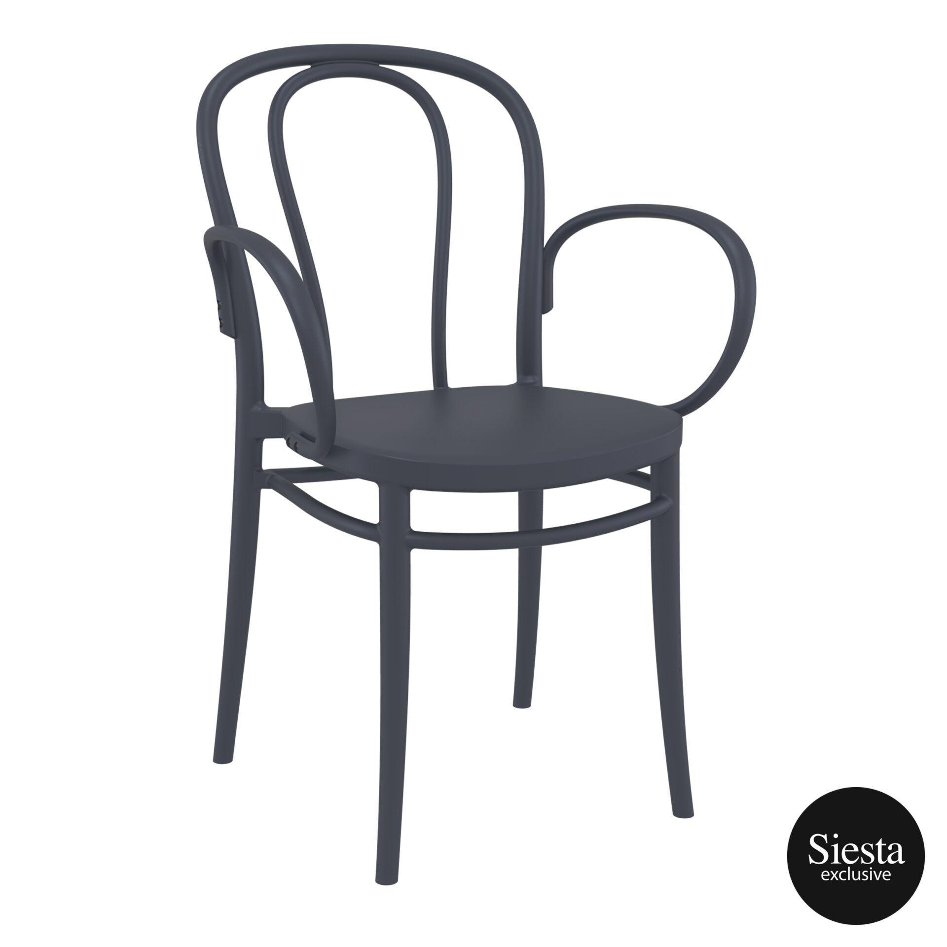 restaurant seating polypropylene victor armchair darkgrey front side 3