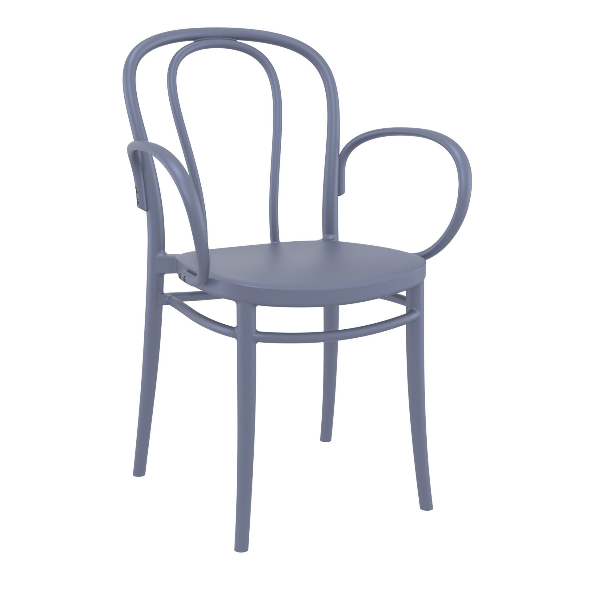 restaurant seating polypropylene victor armchair darkgrey front side