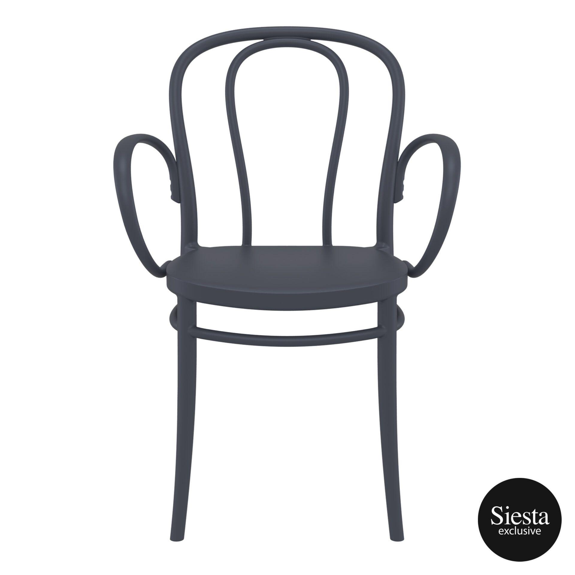 restaurant seating polypropylene victor armchair darkgrey front