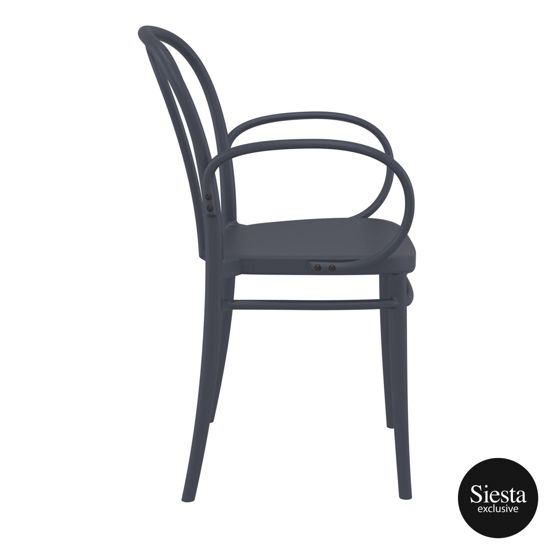 restaurant seating polypropylene victor armchair darkgrey side 2
