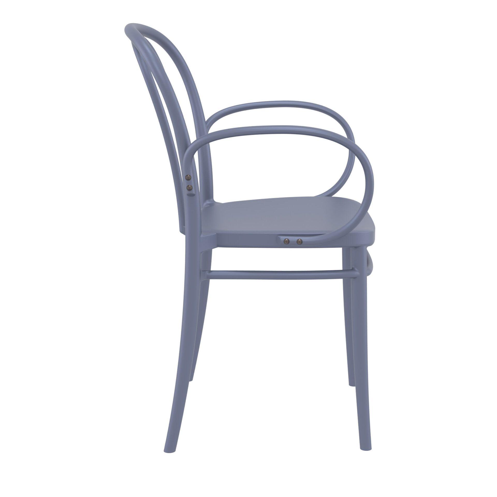 restaurant seating polypropylene victor armchair darkgrey side