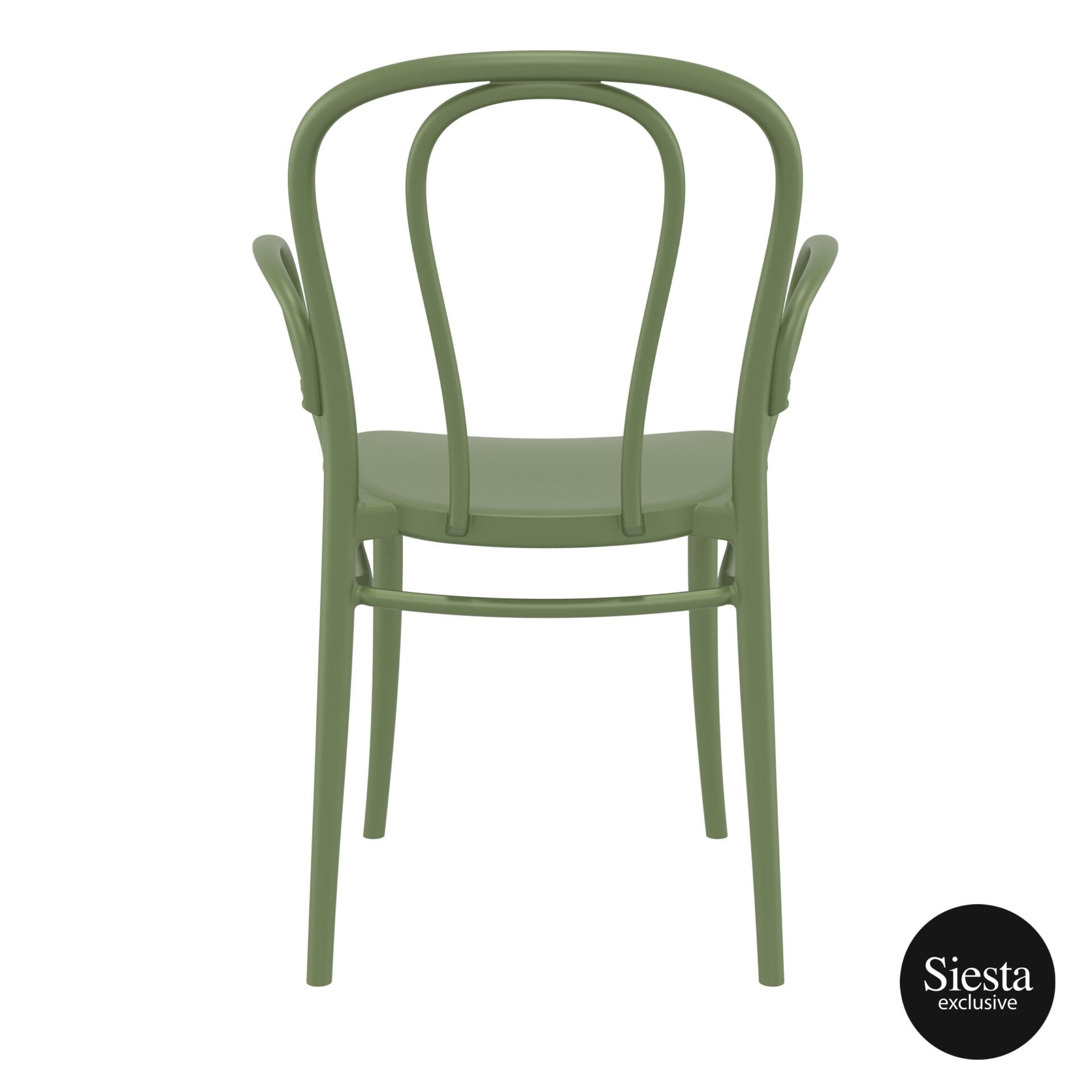 restaurant seating polypropylene victor armchair olive green back 1