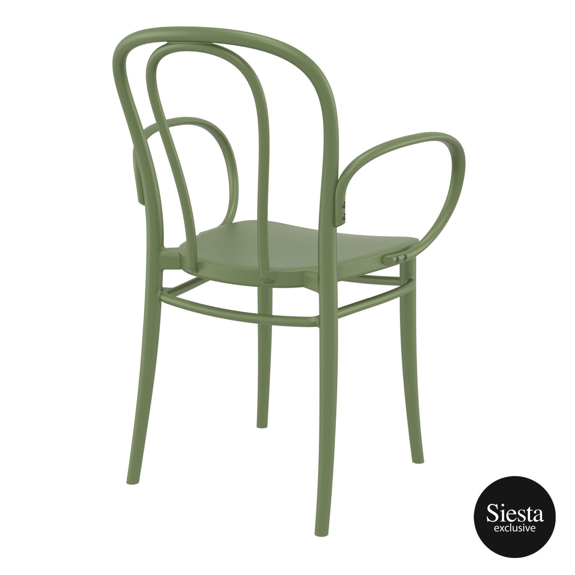 restaurant seating polypropylene victor armchair olive green back side 1