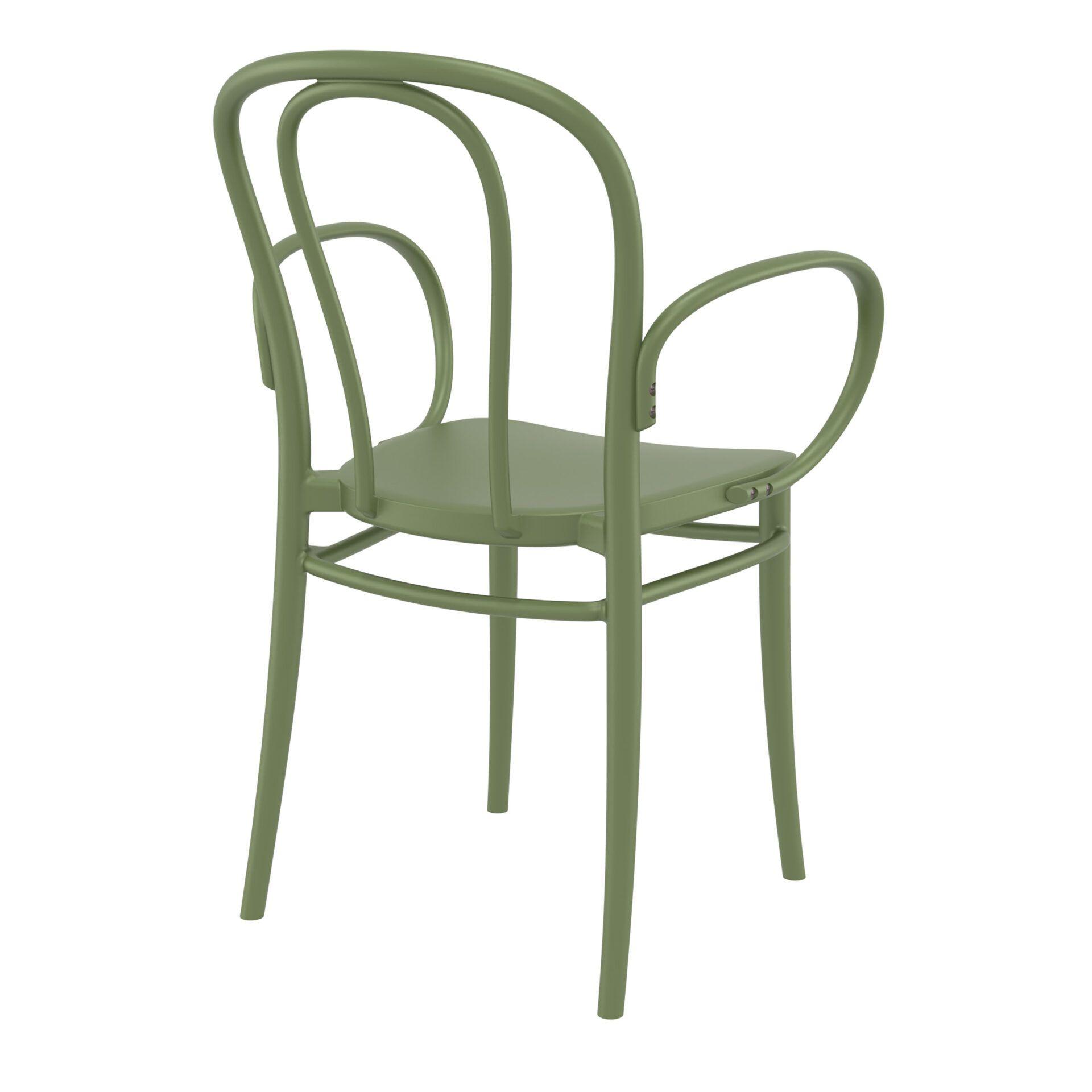 restaurant seating polypropylene victor armchair olive green back side