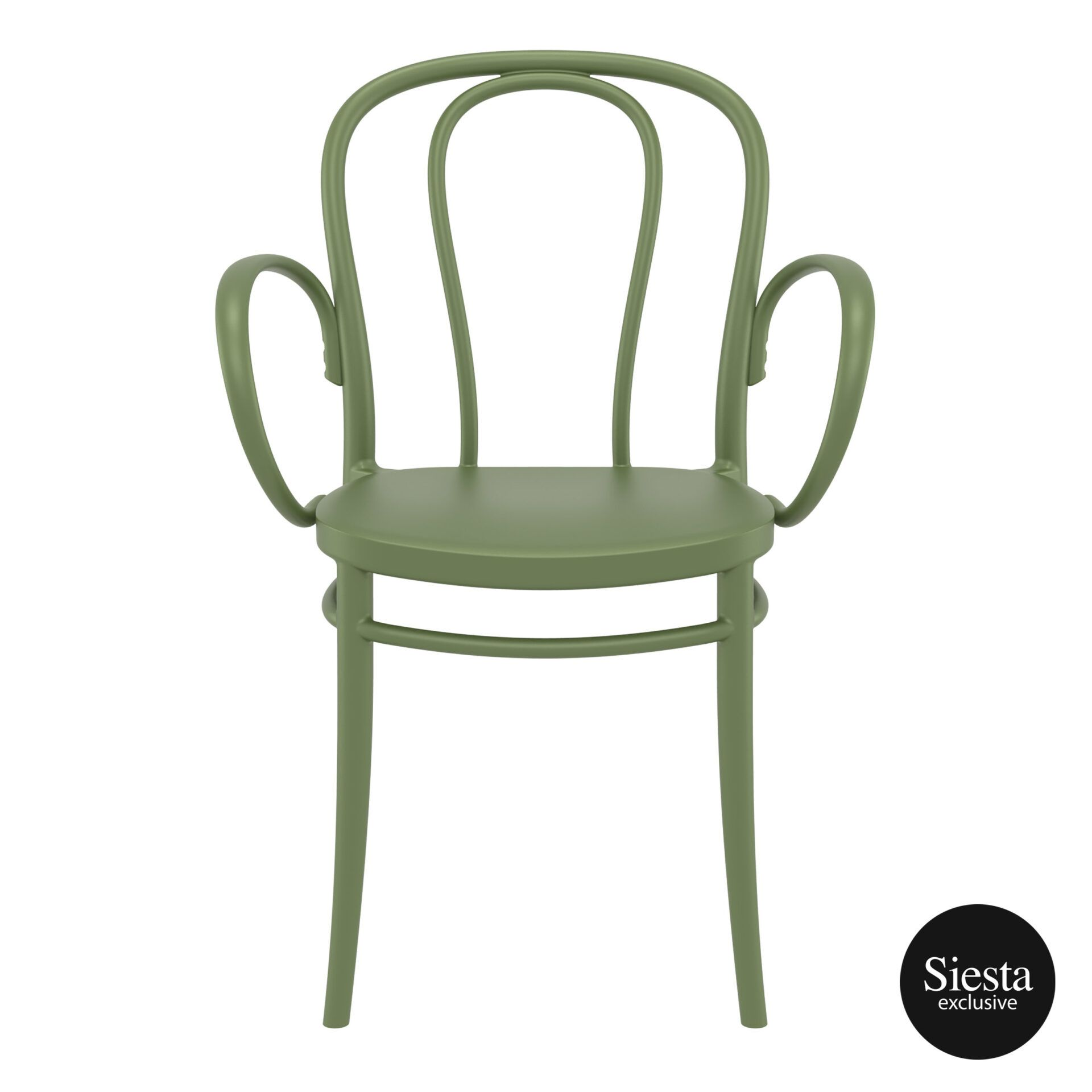 restaurant seating polypropylene victor armchair olive green front 1