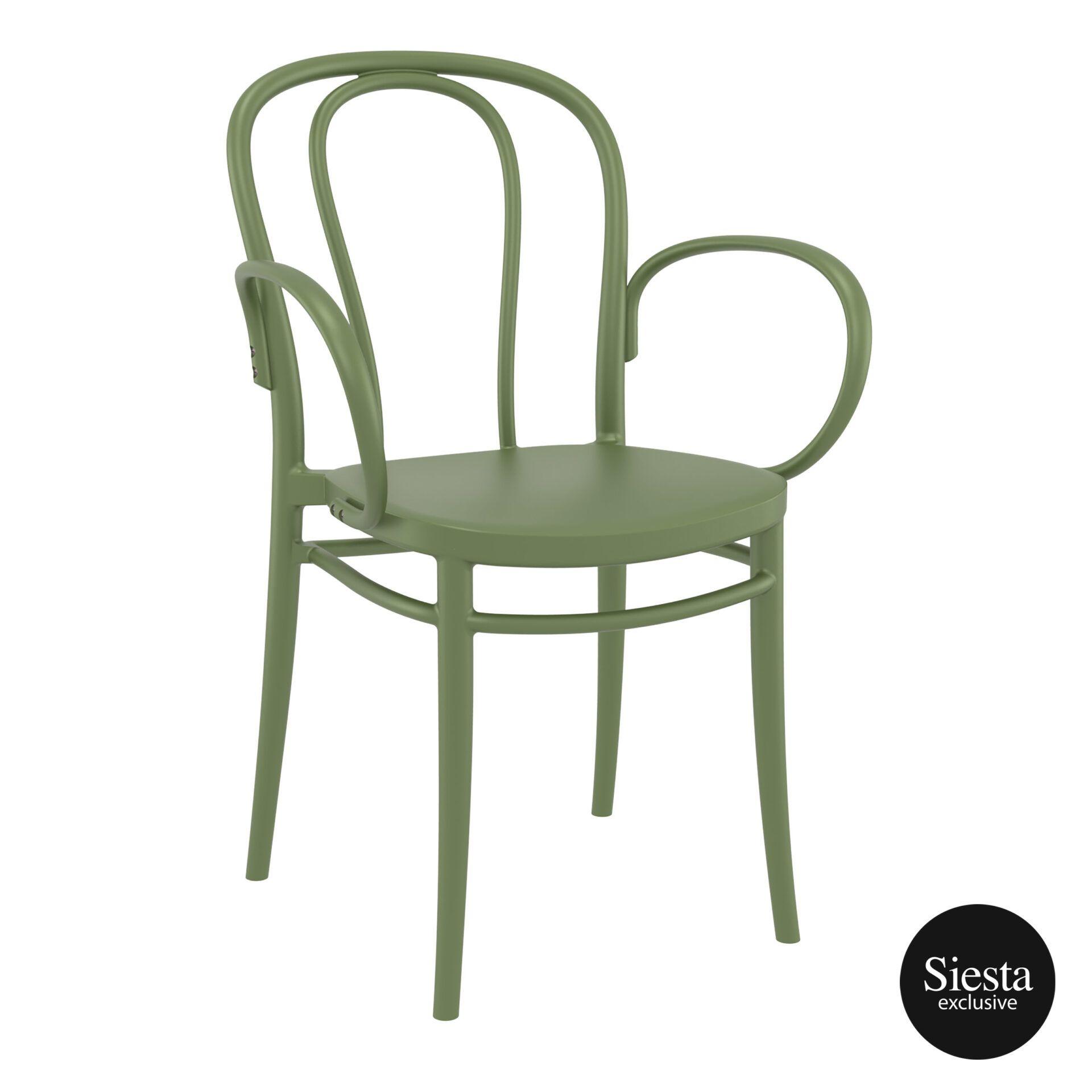 restaurant seating polypropylene victor armchair olive green front side 2