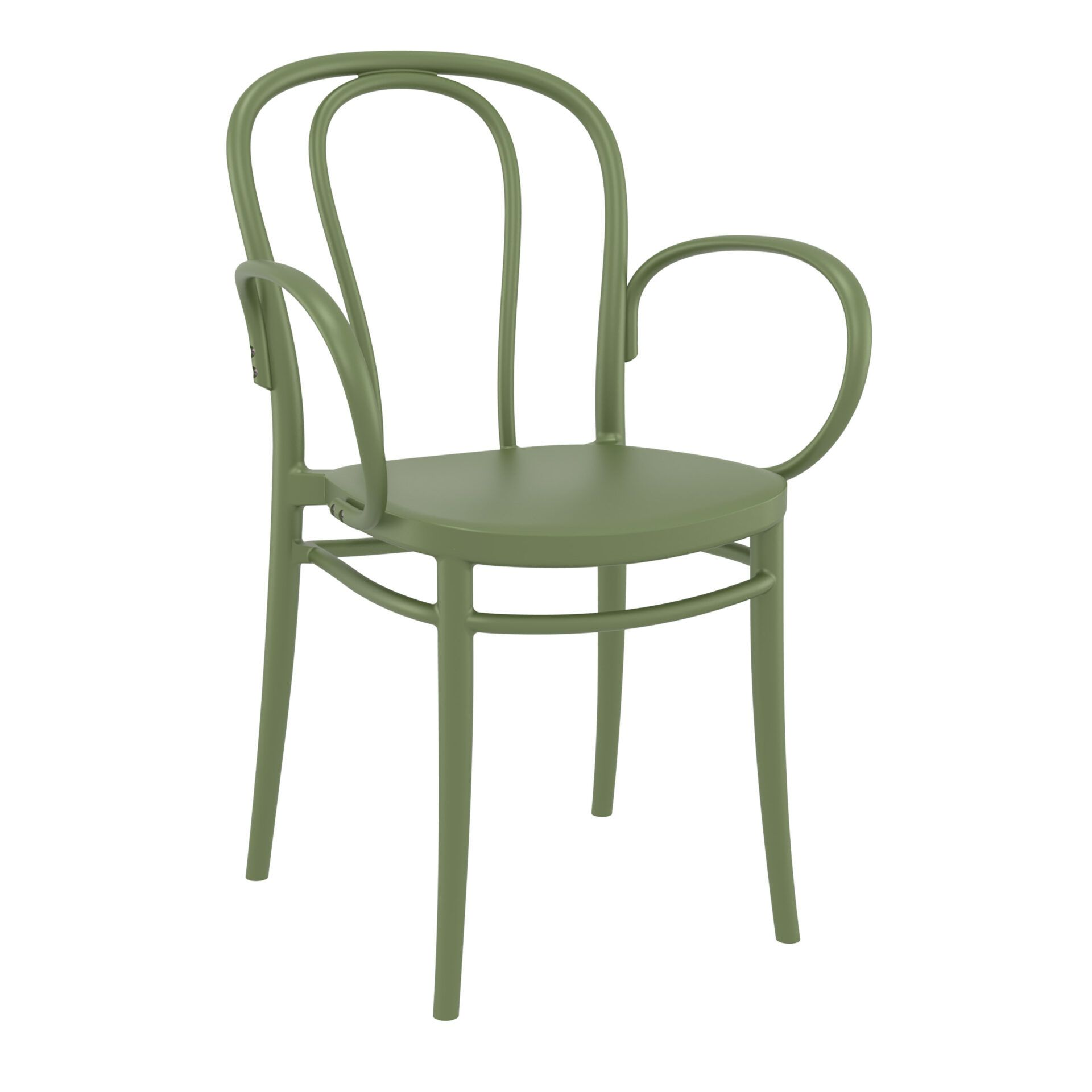 restaurant seating polypropylene victor armchair olive green front side