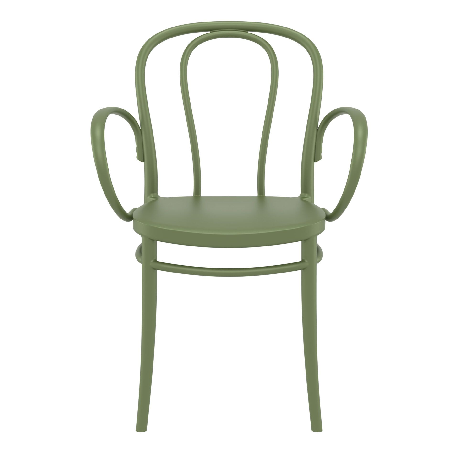 restaurant seating polypropylene victor armchair olive green front