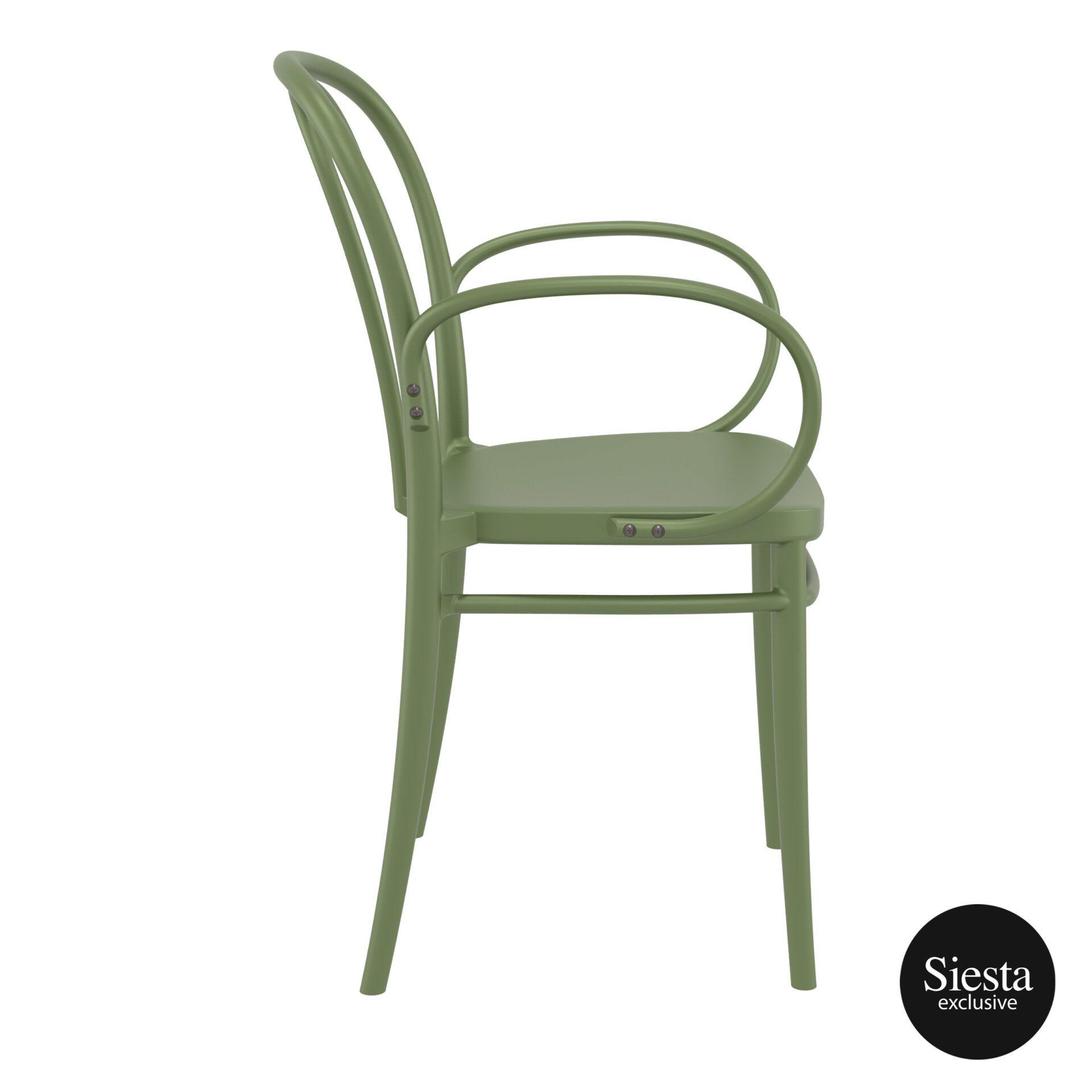 restaurant seating polypropylene victor armchair olive green side 1