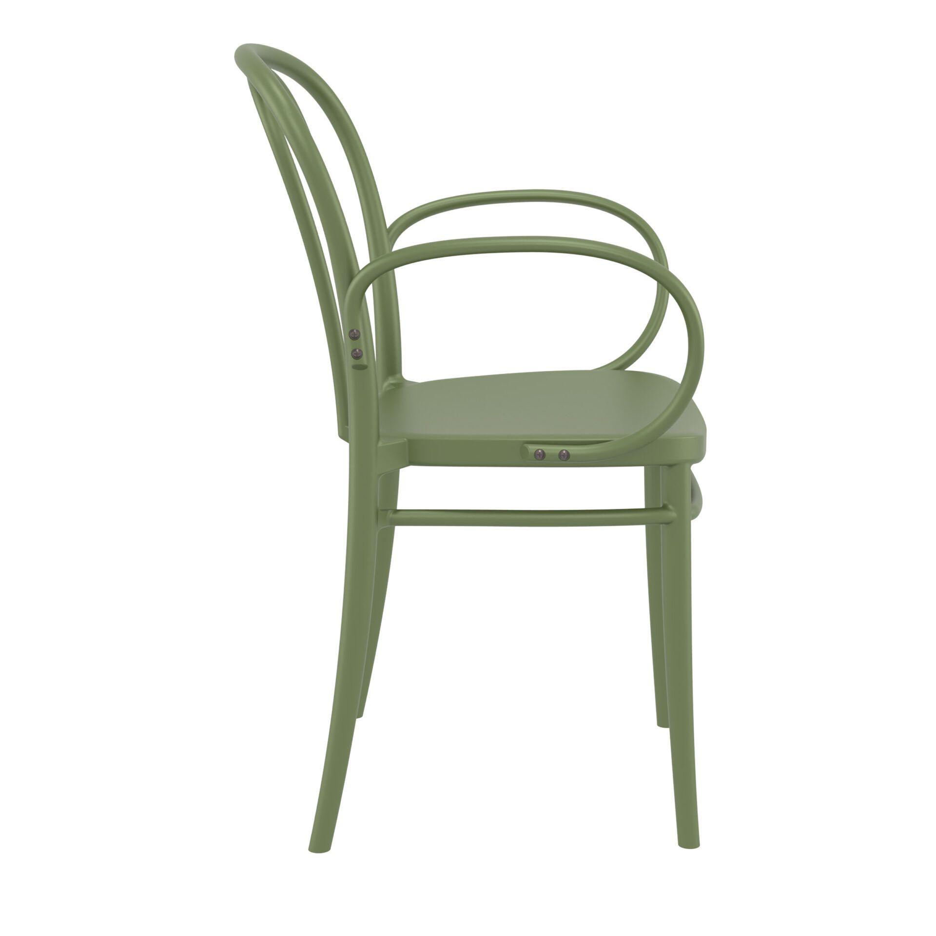 restaurant seating polypropylene victor armchair olive green side
