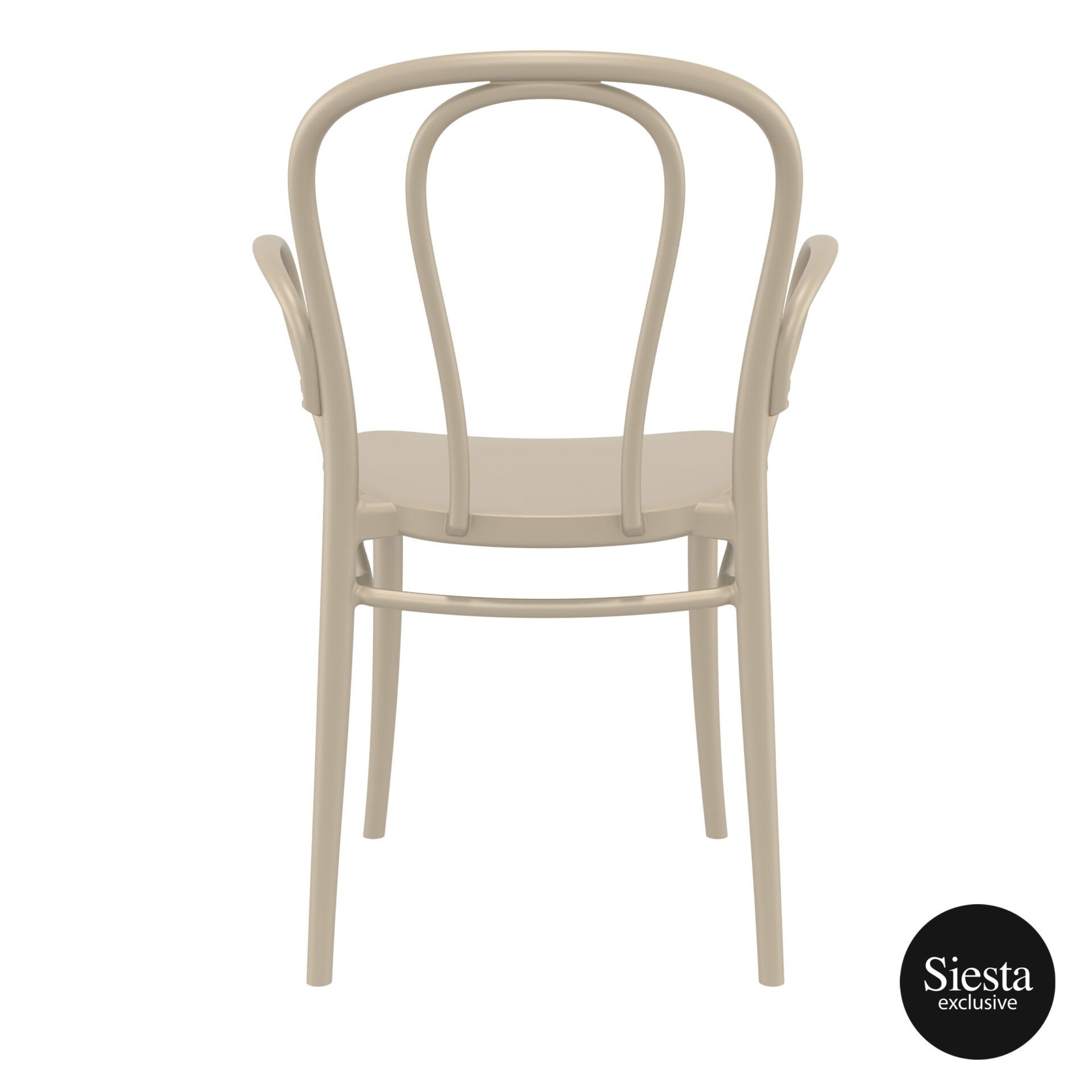 restaurant seating polypropylene victor armchair taupe back 1