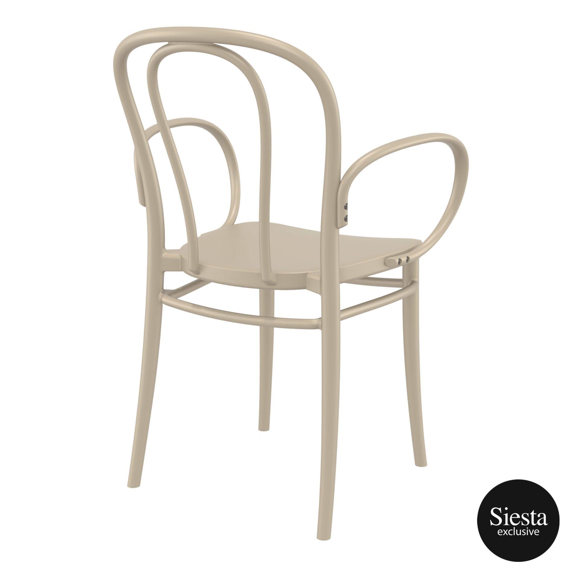 restaurant seating polypropylene victor armchair taupe back side 1