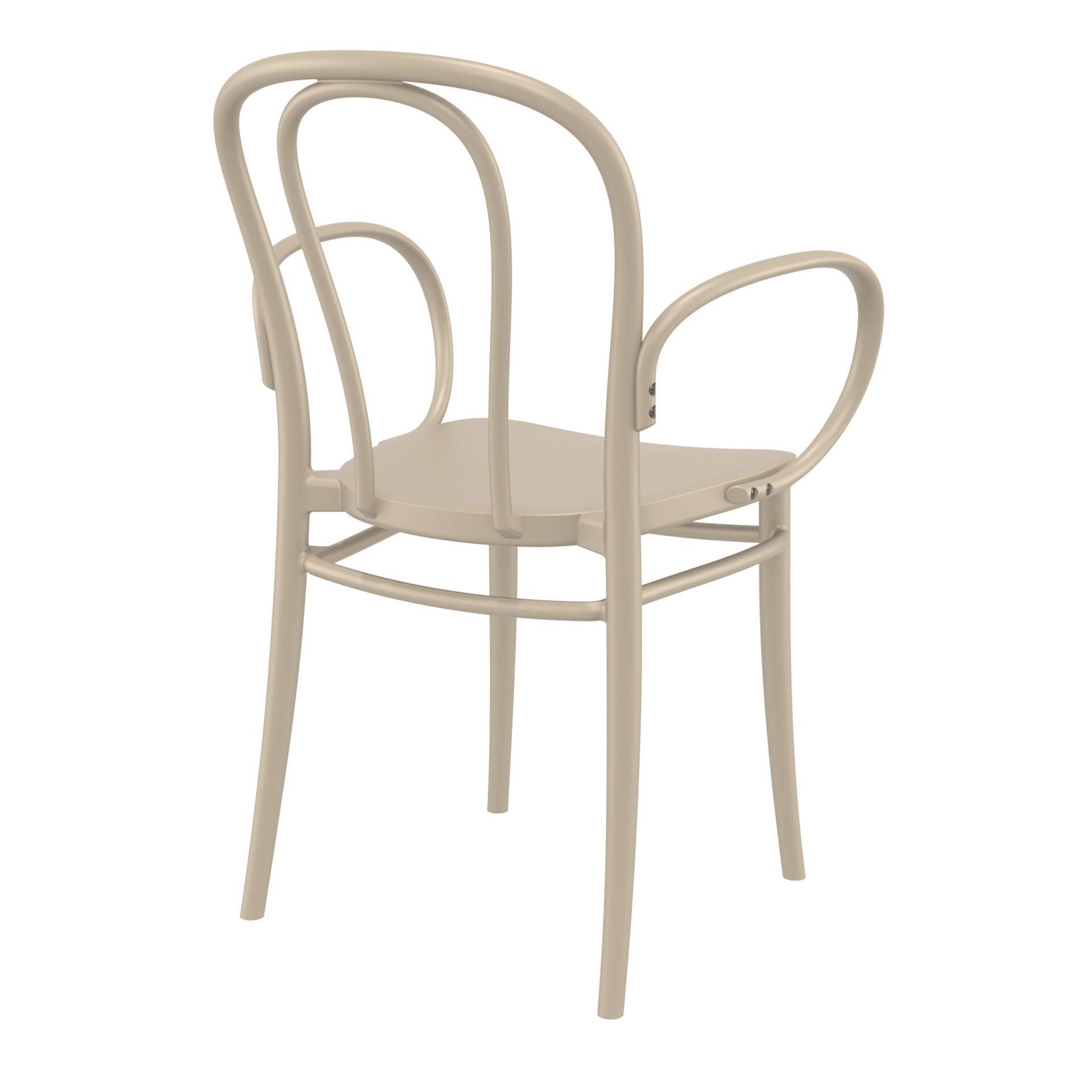 restaurant seating polypropylene victor armchair taupe back side