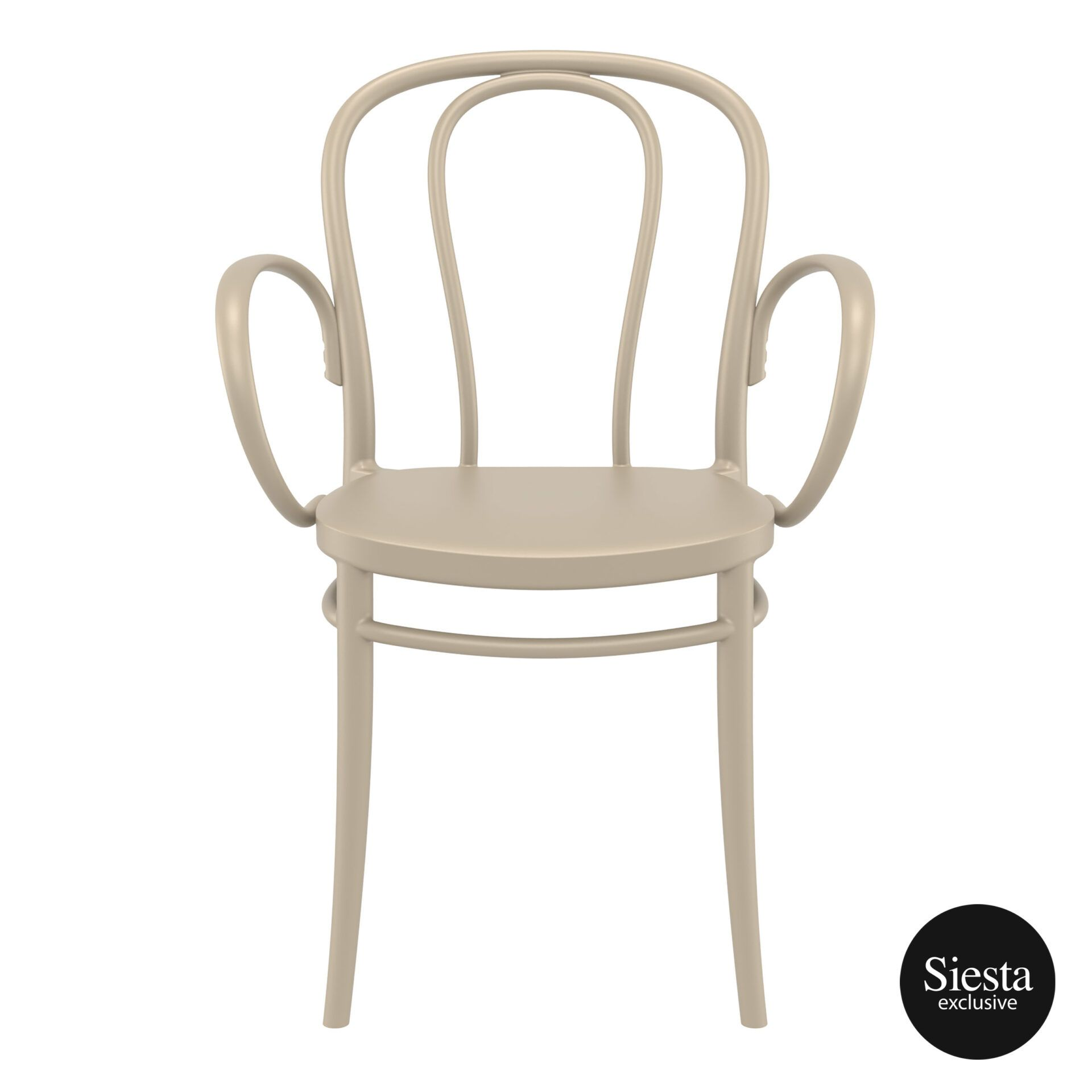 restaurant seating polypropylene victor armchair taupe front 1