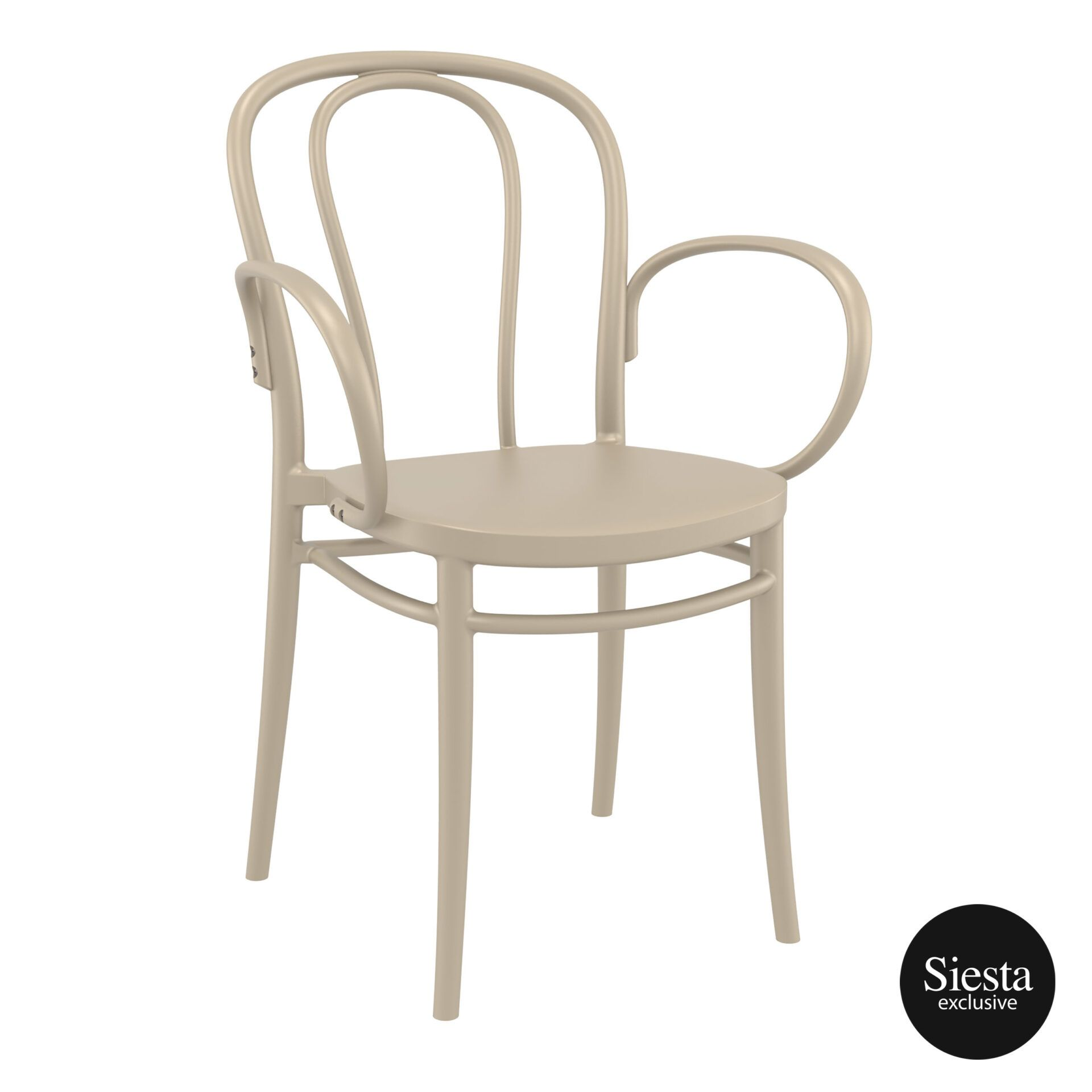 restaurant seating polypropylene victor armchair taupe front side 2